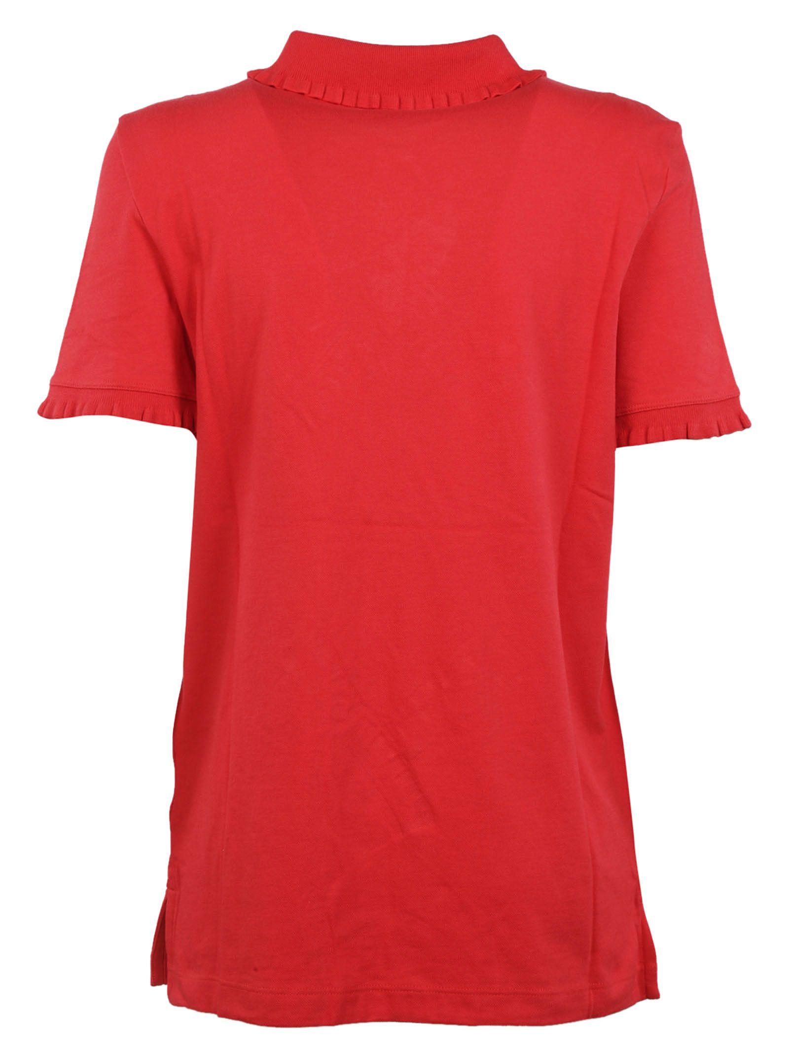 Tory Burch Tory Burch Ruffled Polo Shirt Red Women 39 S