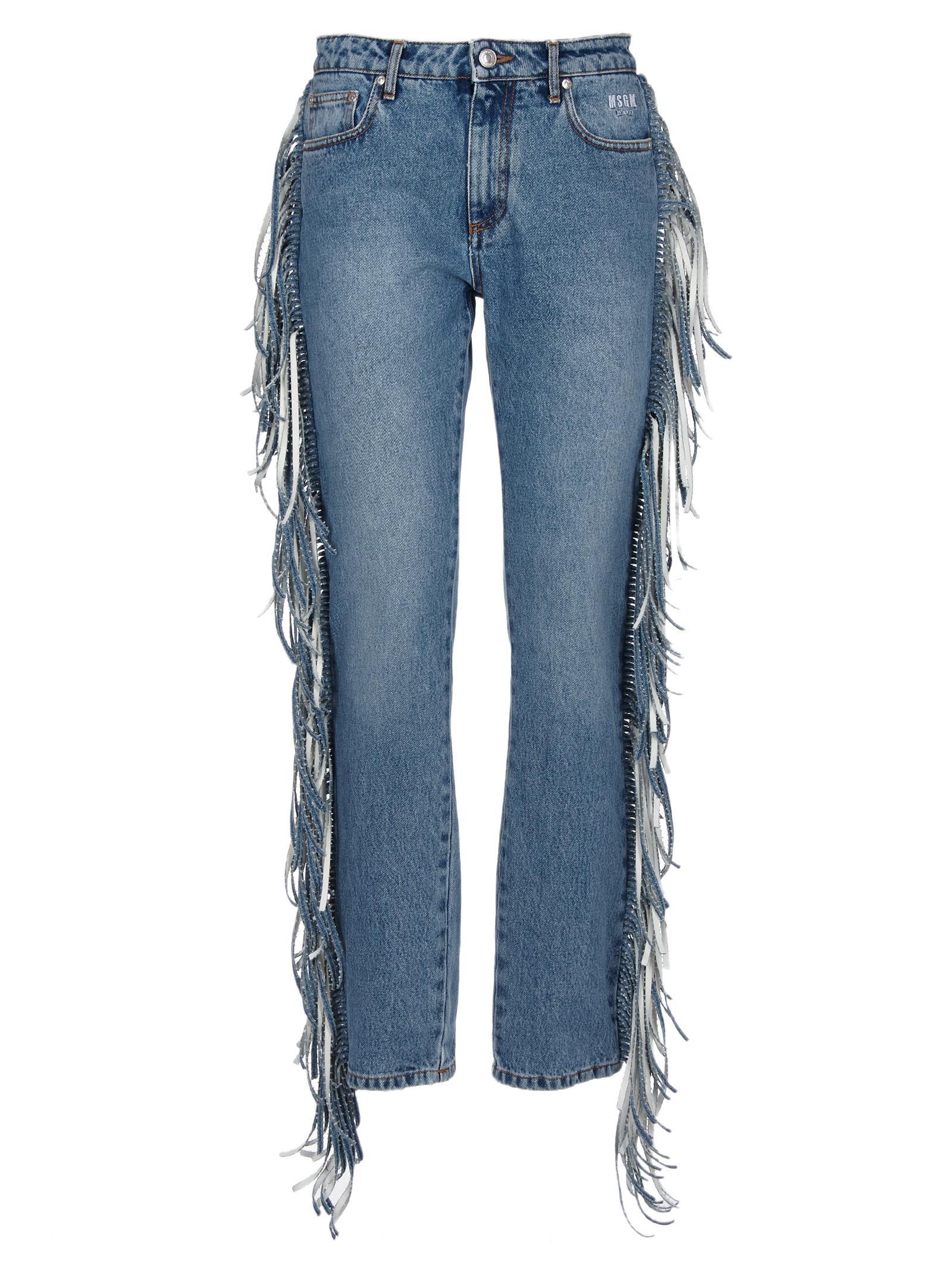 Msgm Fringed Straight-leg Jeans