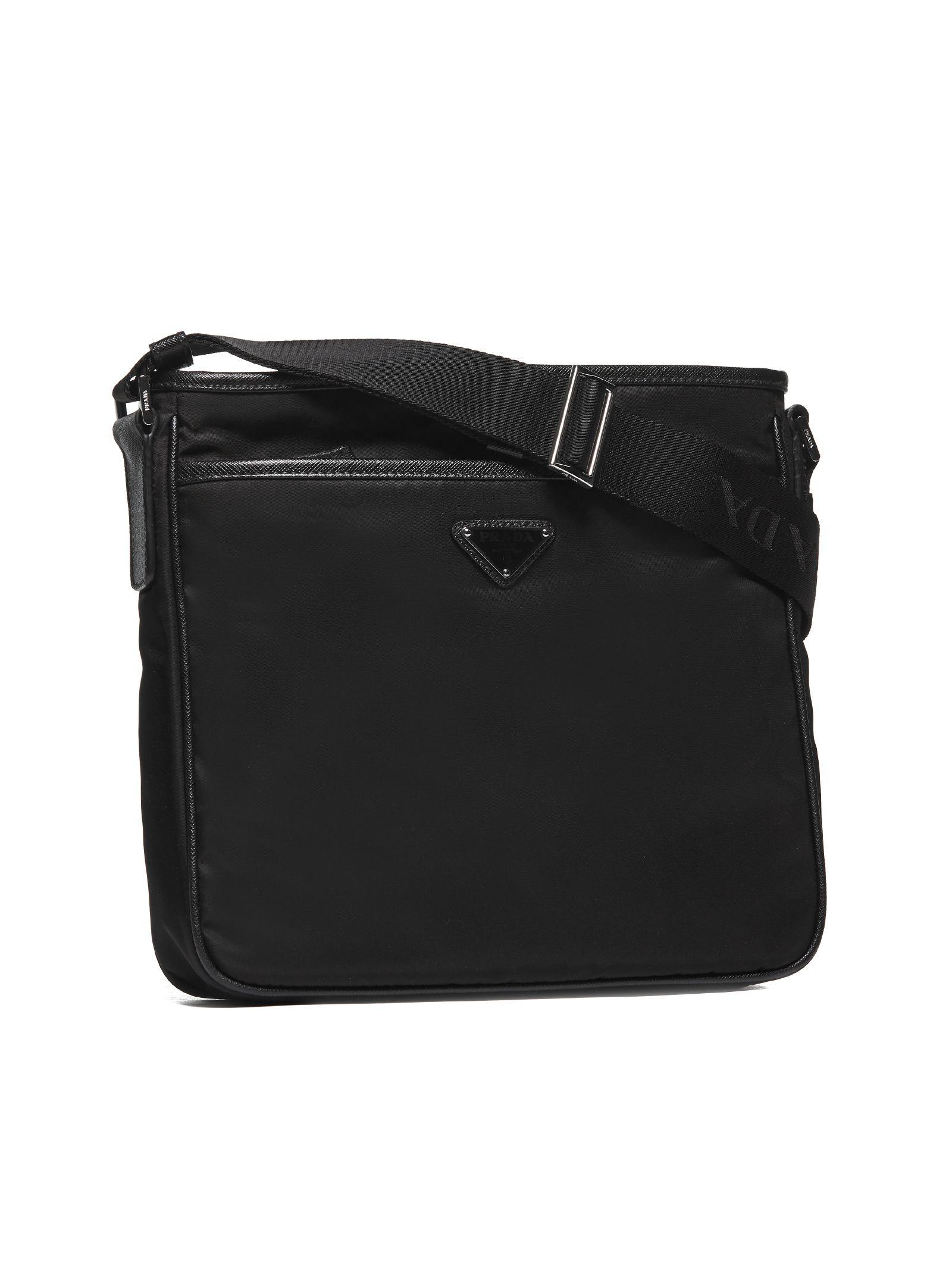 1c7006a05fac26 Prada Logo Plaque Messenger Shoulder Bag In Nero | ModeSens