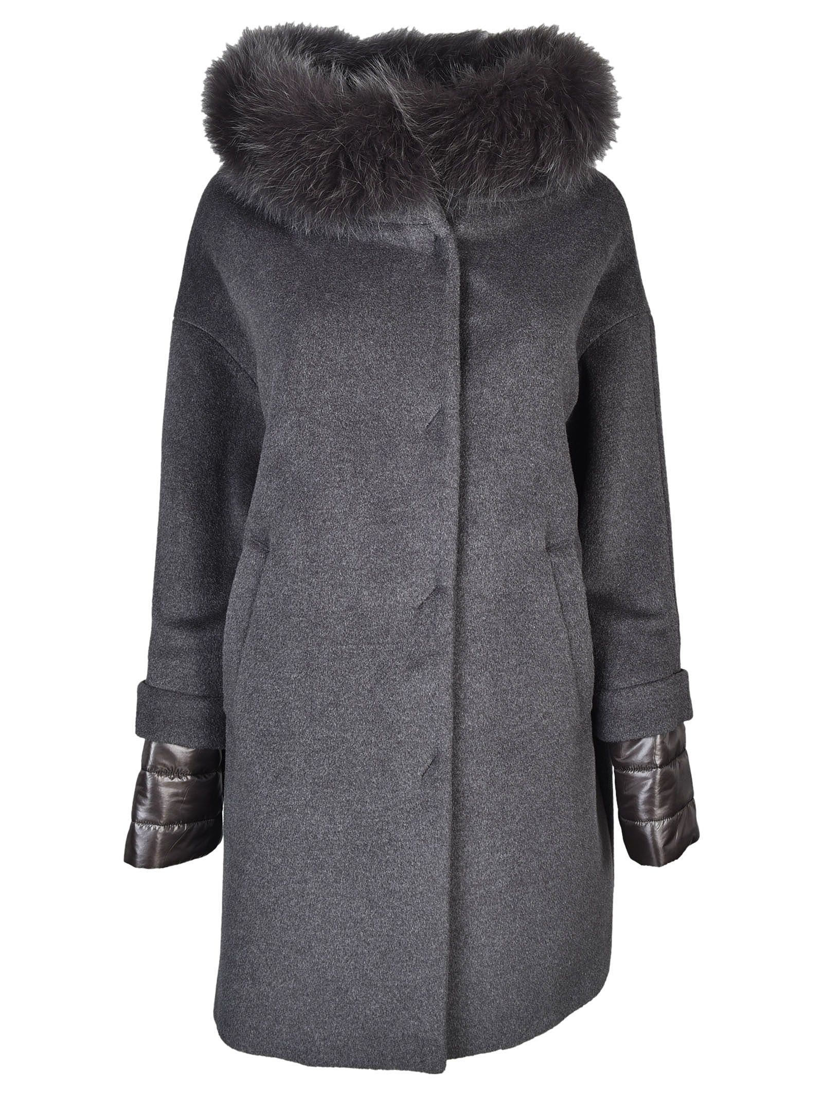 herno herno classic furred collar fitted coat grey women s