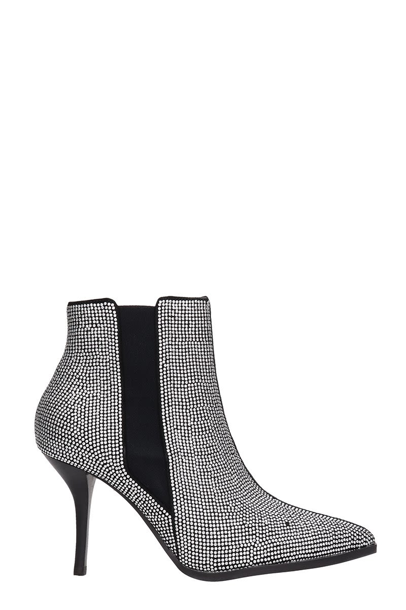 LOLA CRUZ Black Leather Elastic Ankle Boots in Silver