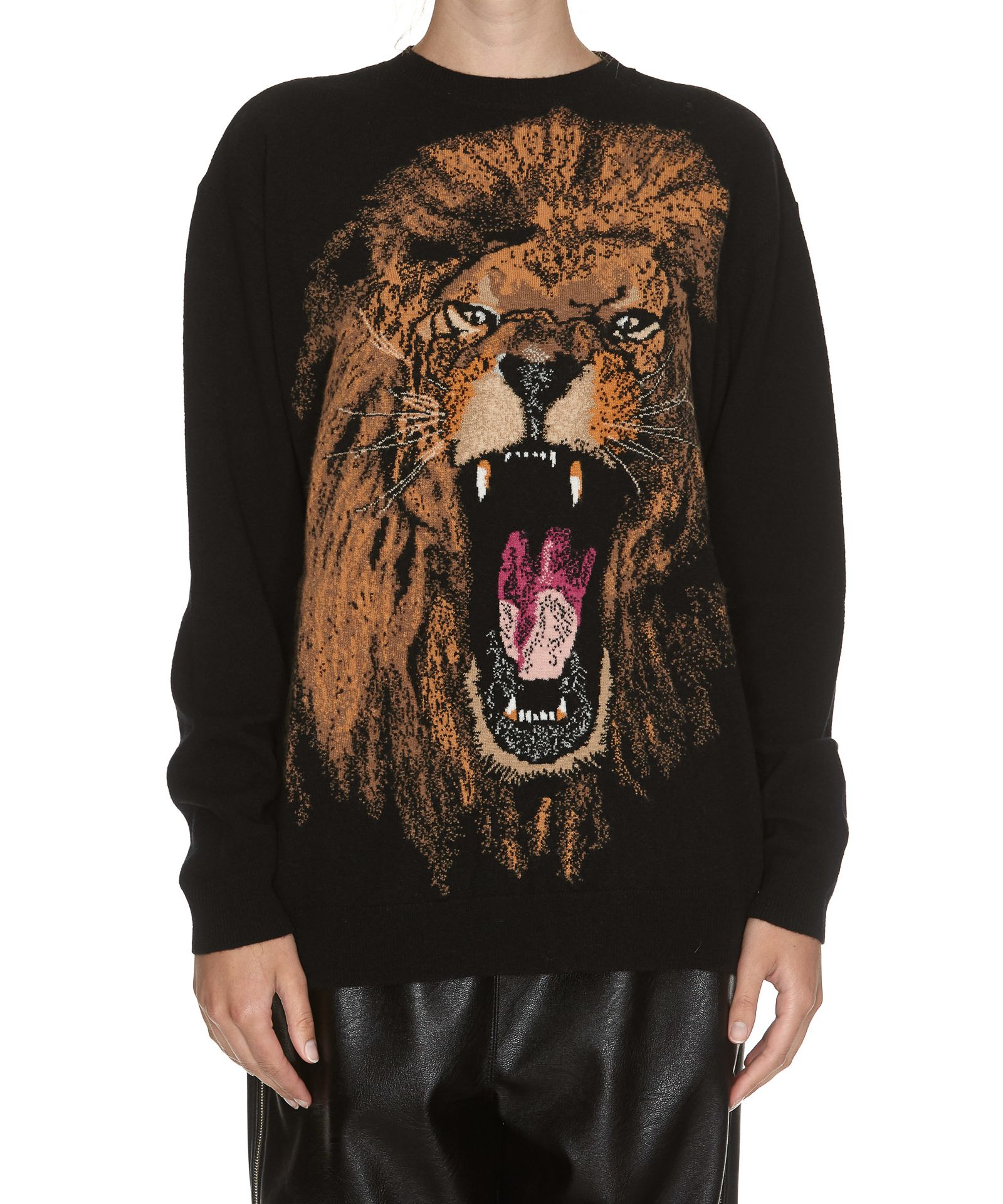 STELLA MCCARTNEY LION INTARSIA CREW NECK SWEATER