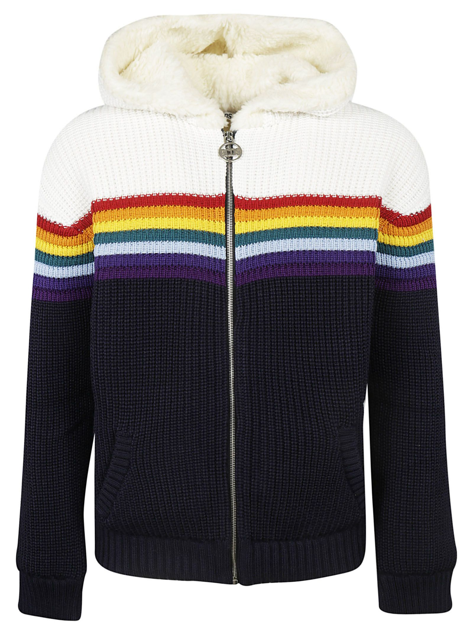 In Jacket Hooded Stripe Gcds Bianco Blu Rainbow tqPI1xwO