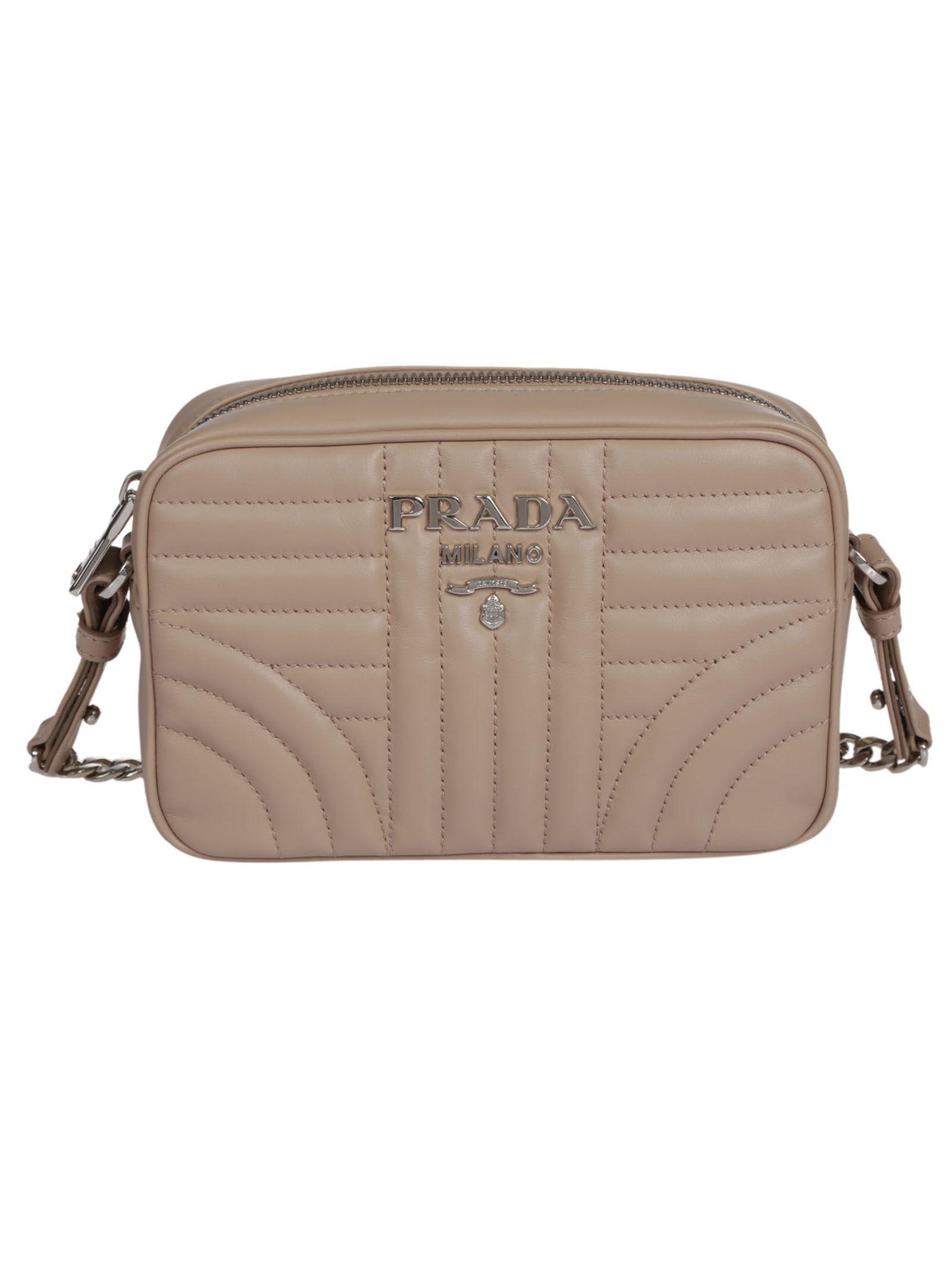 5f7ada360f70 PRADA BEVELED SHOULDER BAG