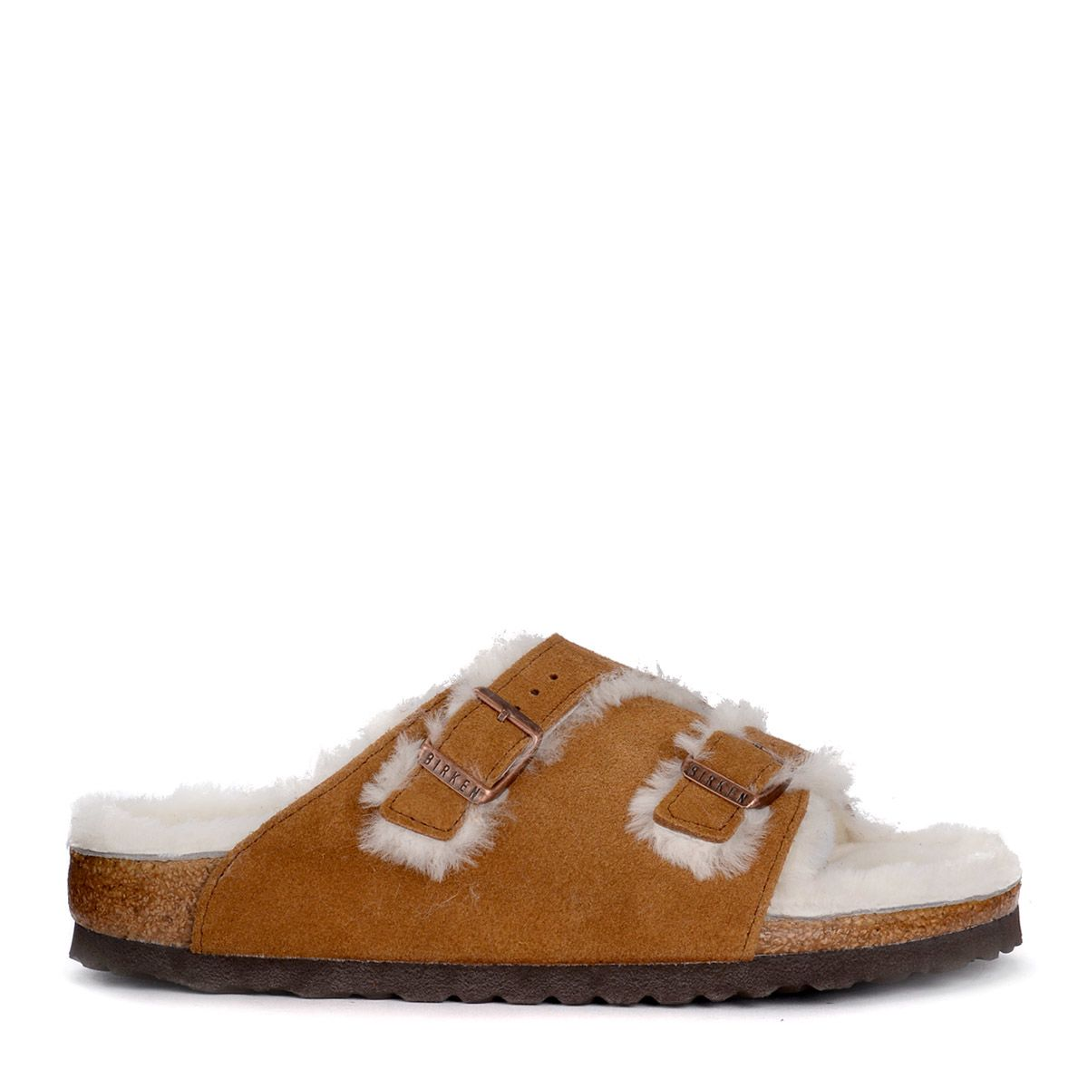 Birkenstock ZÜRICH BROWN SUEDE AND FUR SANDAL