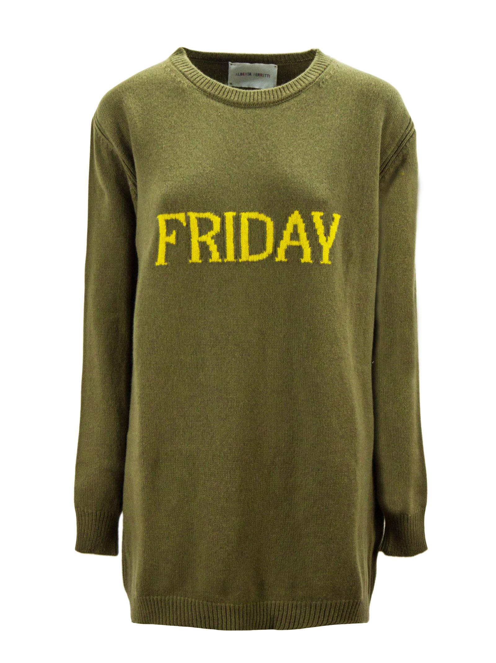 """""""friday"""" Dress In Green And Yellow Virgin Wool And Cashmere."""