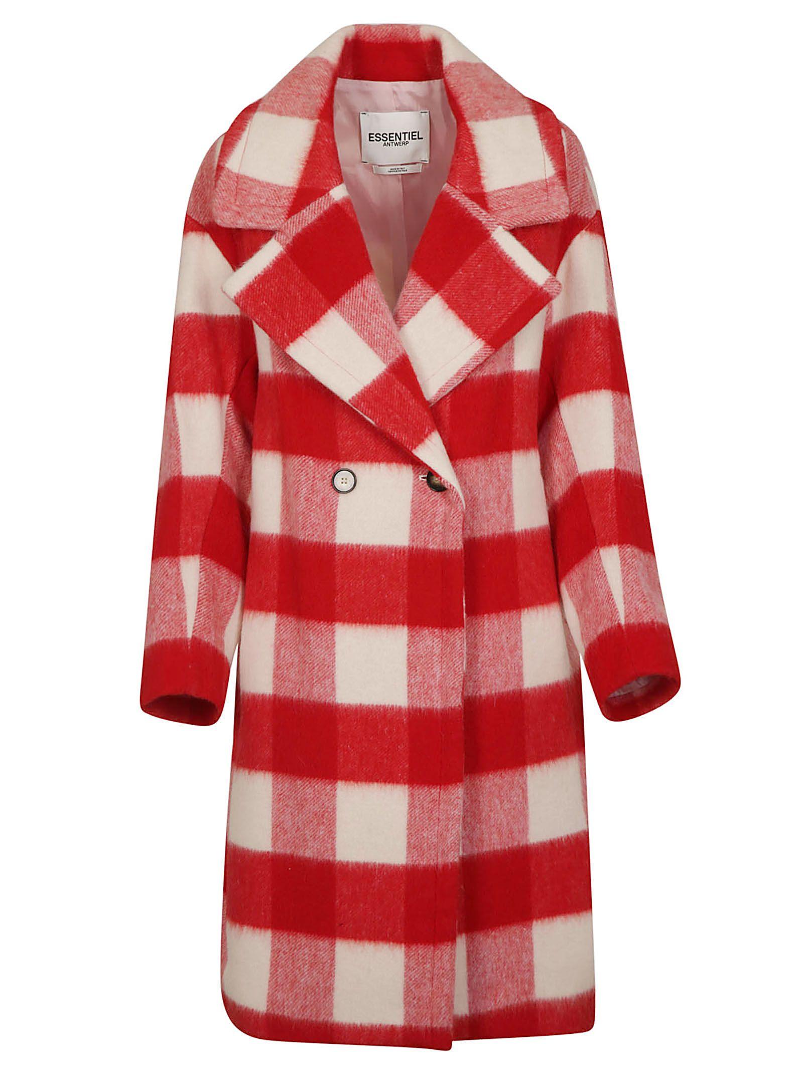 ESSENTIEL ANTWERP Rosso Checked Coat - Red