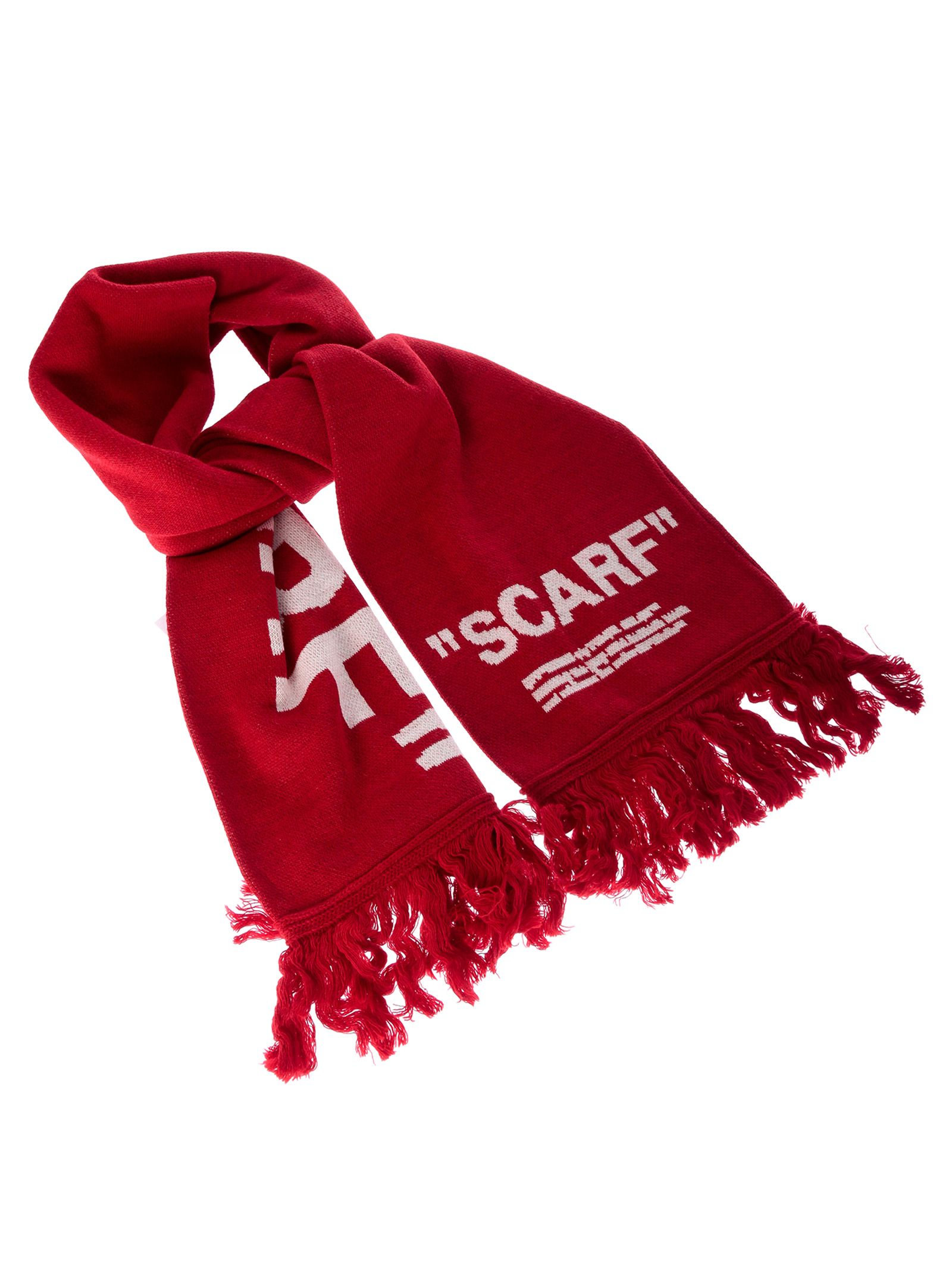 Off White Quote Scarf in Red