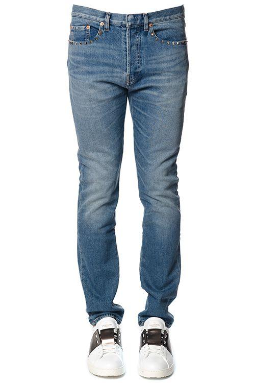 Valentino Rockstud Cotton Denim Jeans 10600351