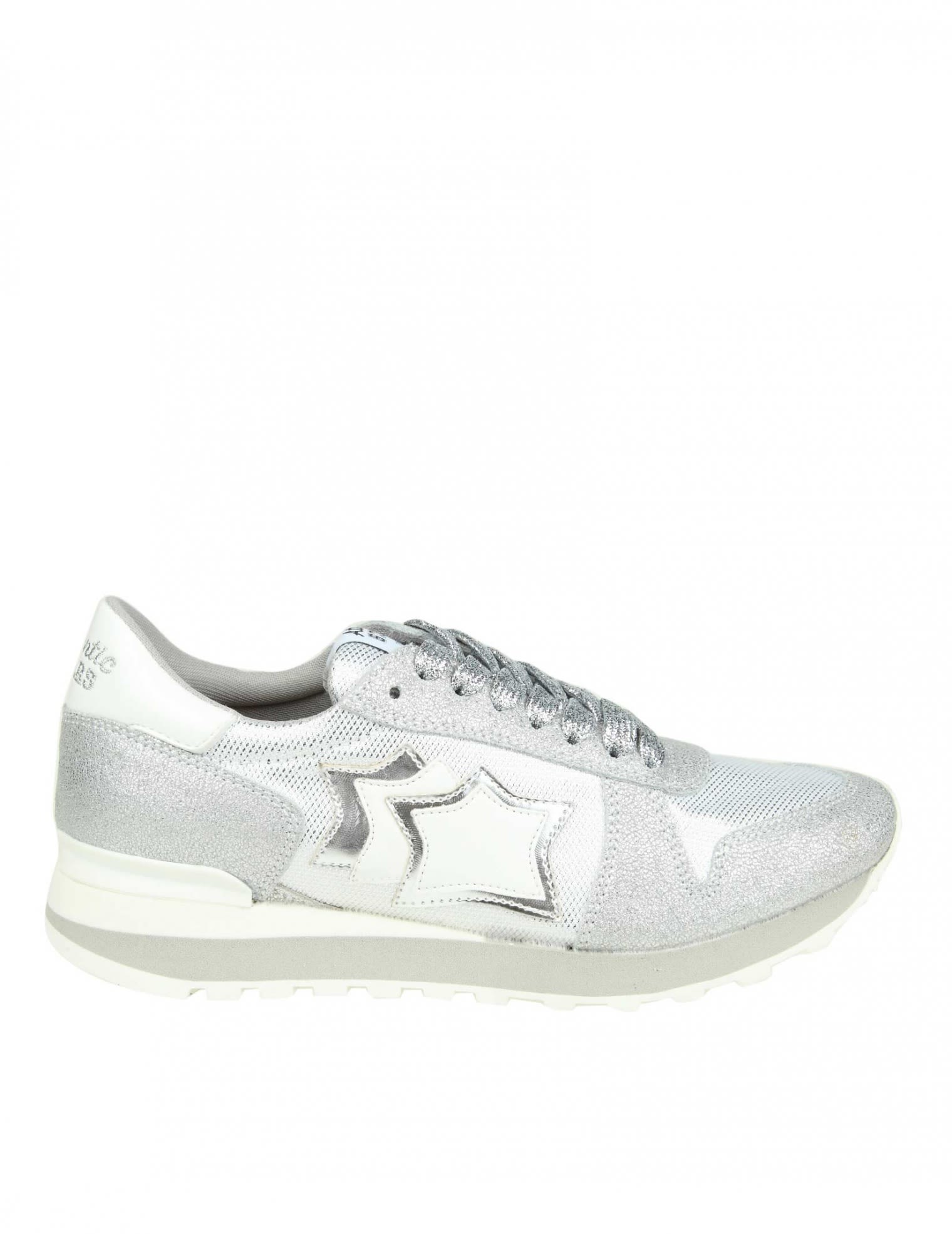 Atlantic Stars ALHENA SNEAKERS IN SILVER LEATHER AND FABRIC