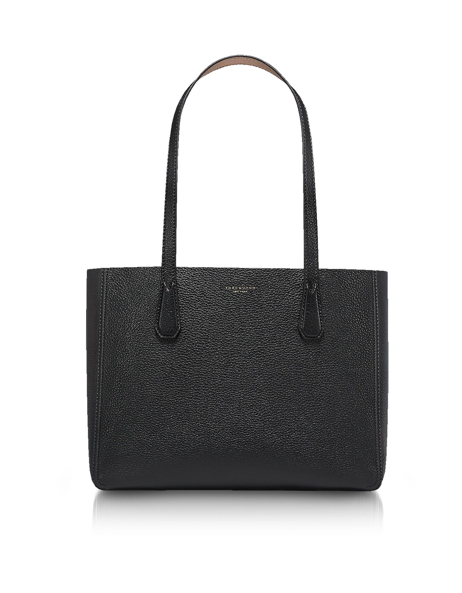 Phoebe Black/Metallic Gold Pebbled Leather Mini Tote Bag