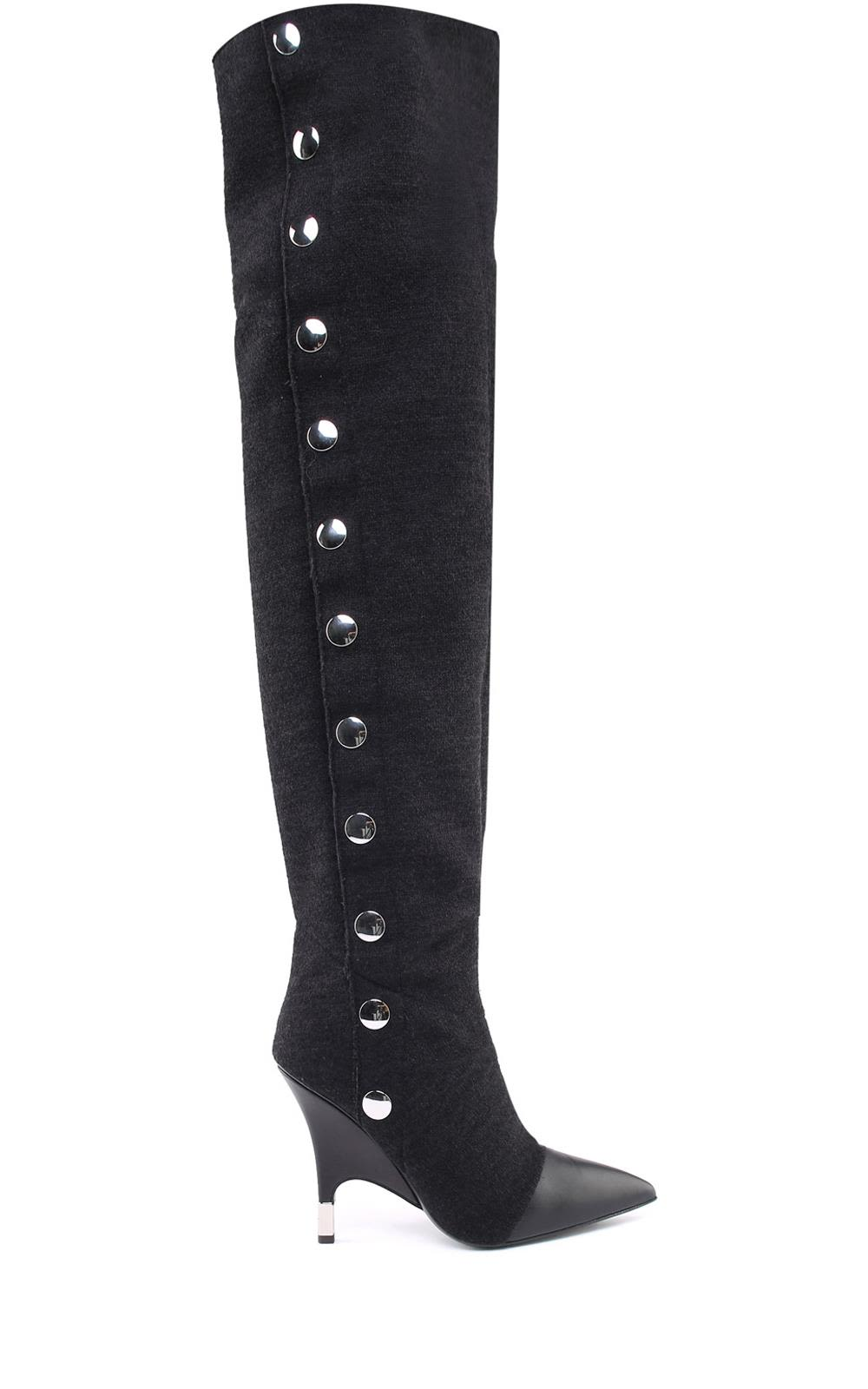Harper Stretch-Jersey Over-The-Knee Boots, Nero