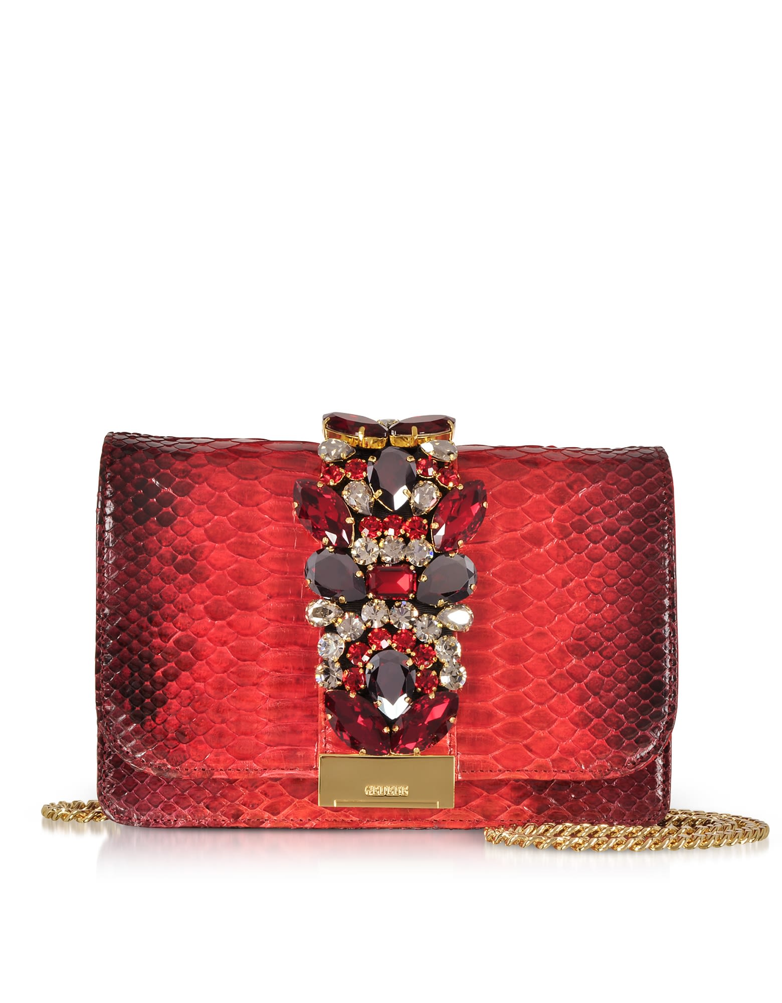 GEDEBE CLIKY RED SHADOW PYTHON CLUTCH W-CRYSTALS AND CHAIN STRAP
