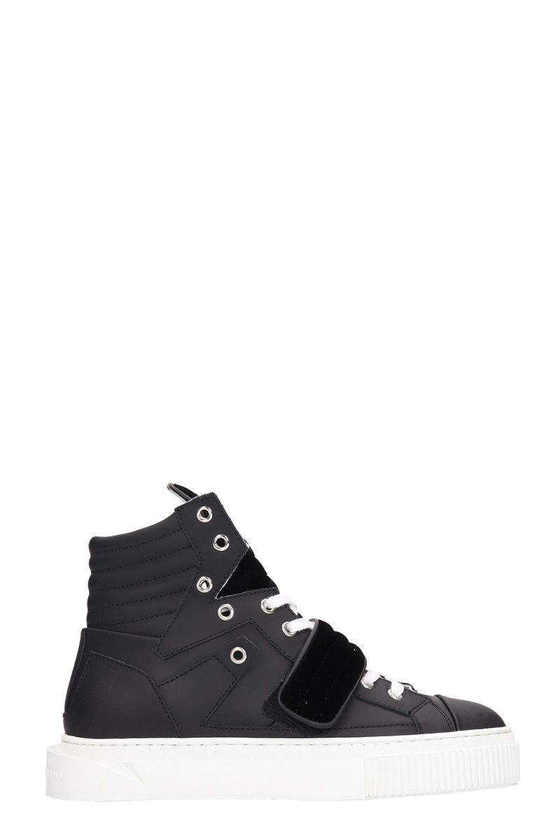 GIENCHI Hypnos Black Leather And Velvet Sneakers