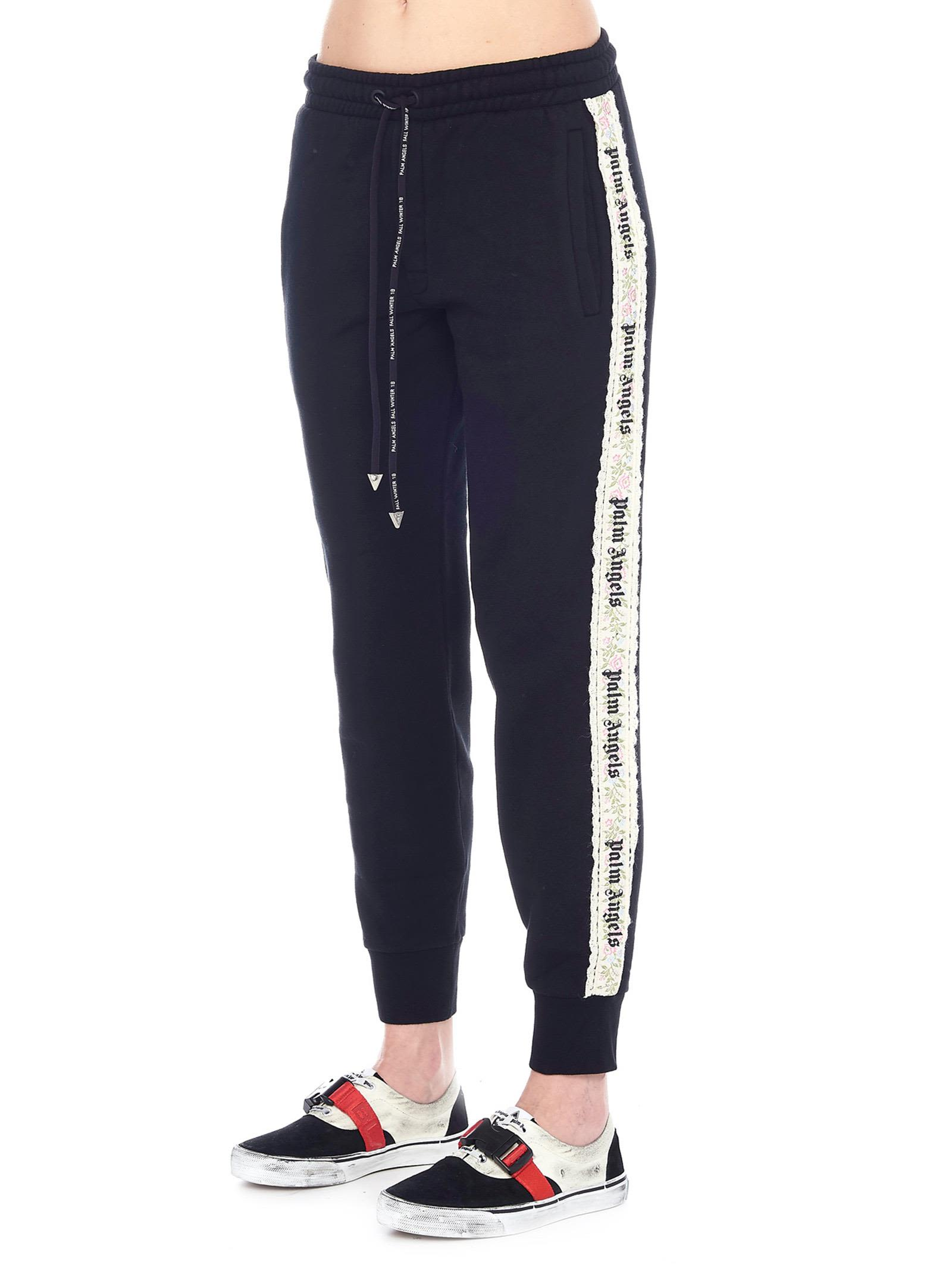 Italist Best Price In The Market For Palm Angels Pants Winter 10 Flower Tape Black