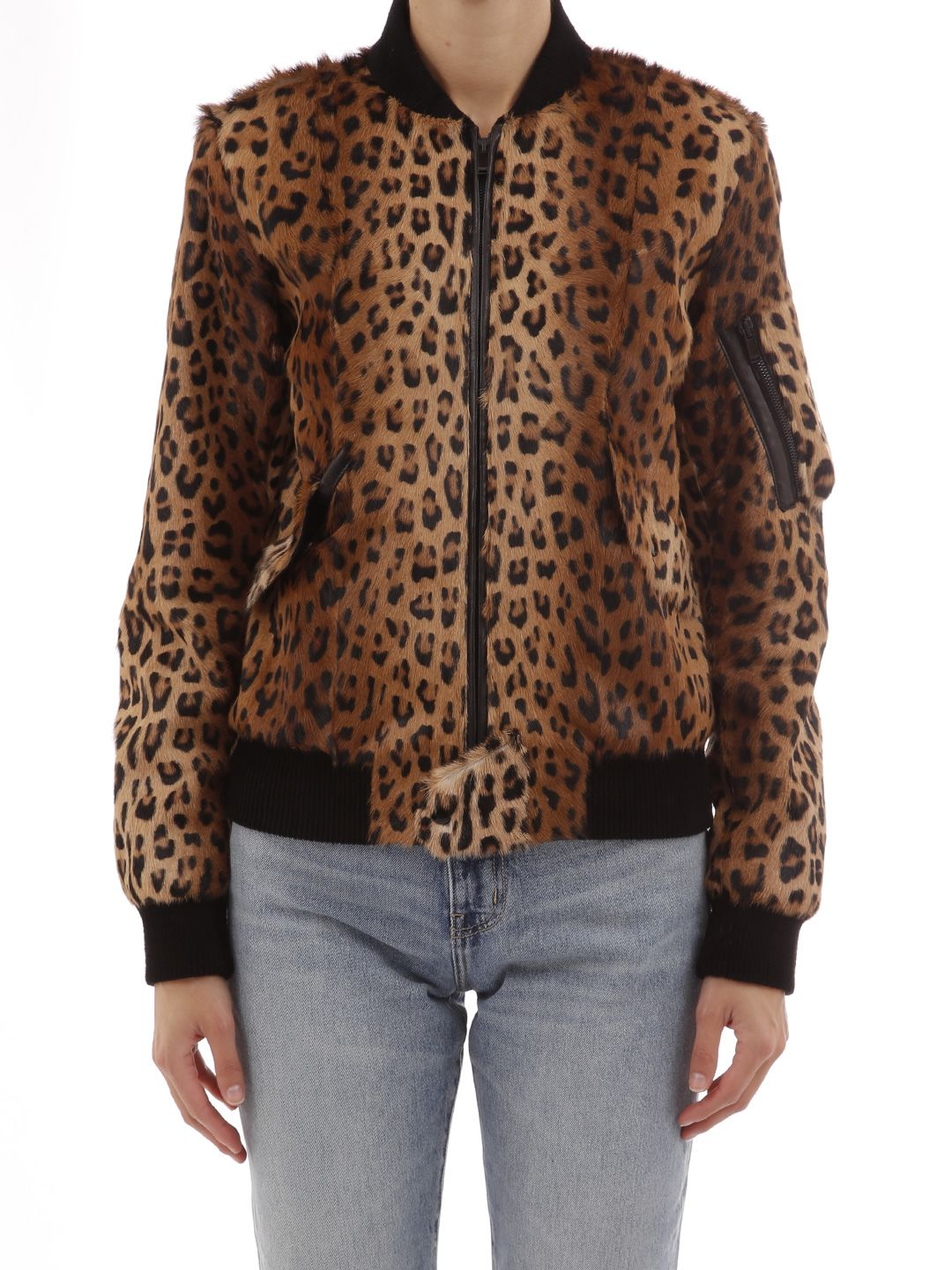 Leather-Trimmed Leopard-Print Goat Hair Bomber Jacket in Brown