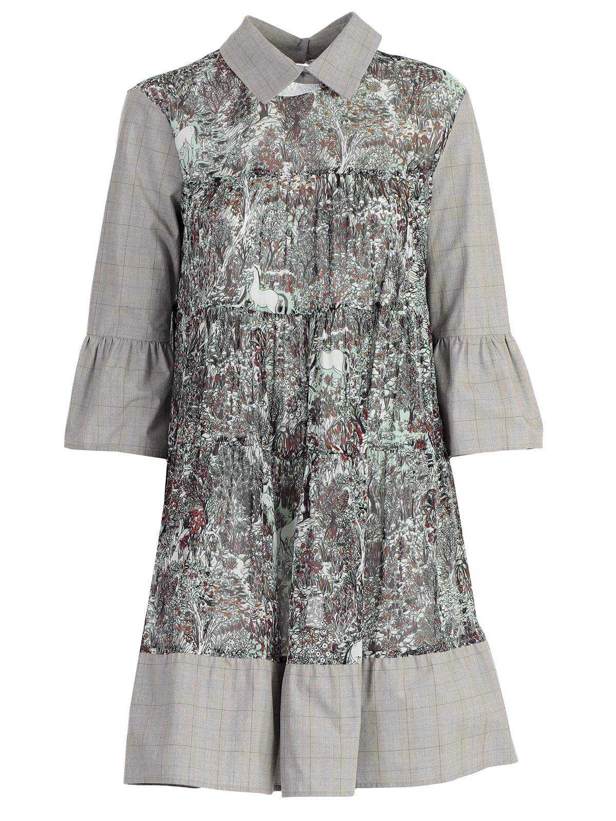 printed bell sleeve shirt dress - Grey I'm Isola Marras 6OCCci