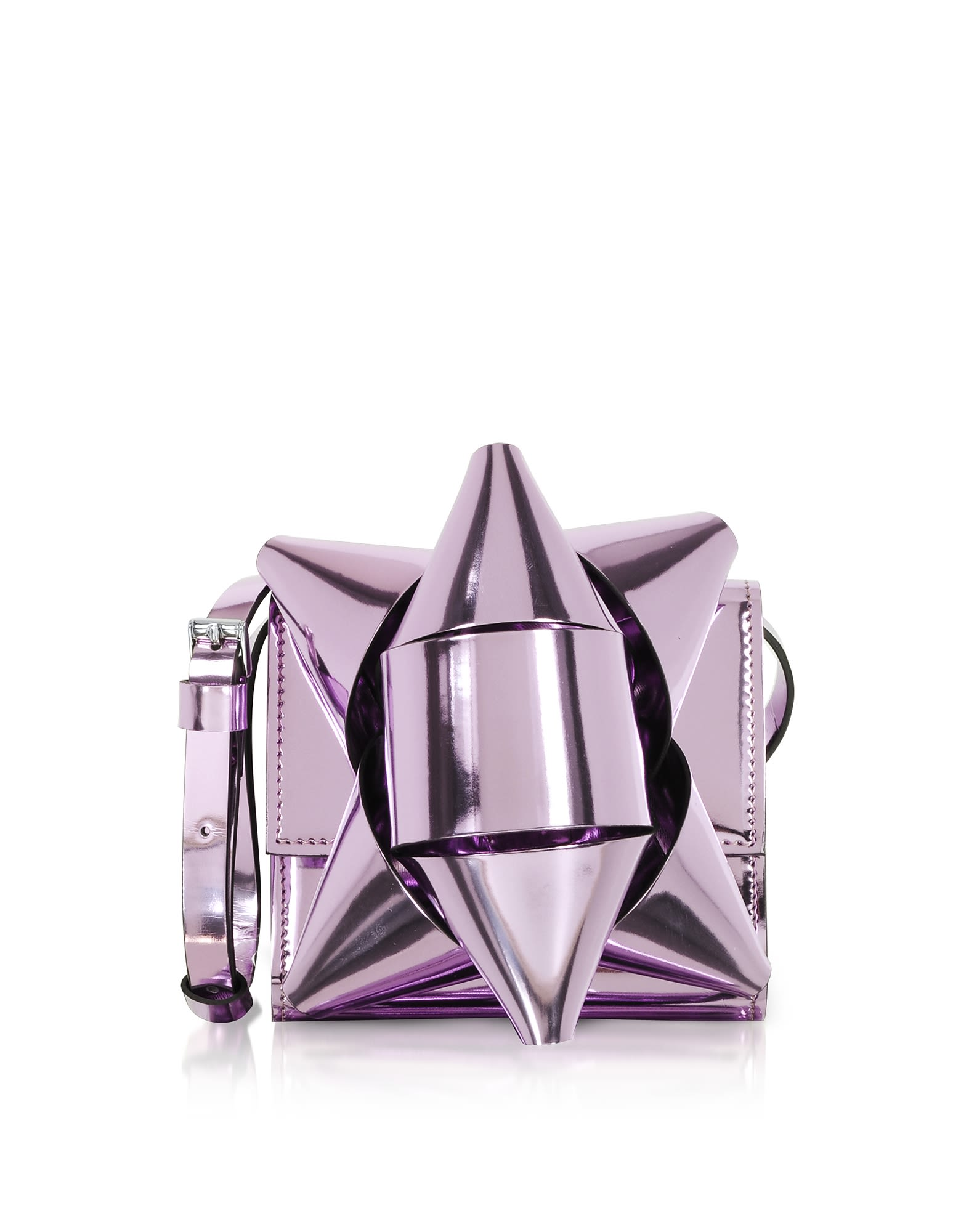 Mm6 Maison Martin Margiela Metallic Eco-Leather Bow Shoulder Bag in Lilac