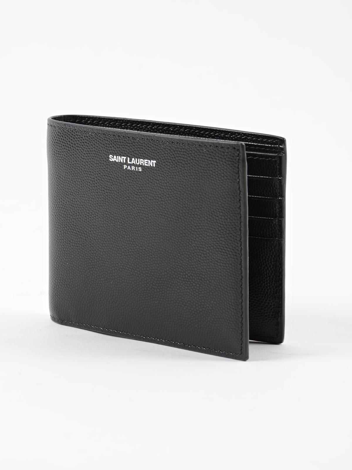 saint laurent - wallet grain d.p. - black, men's wallets | italist
