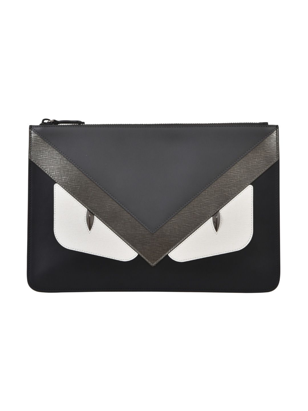 FENDI INLAY DETAIL LEATHER POUCH