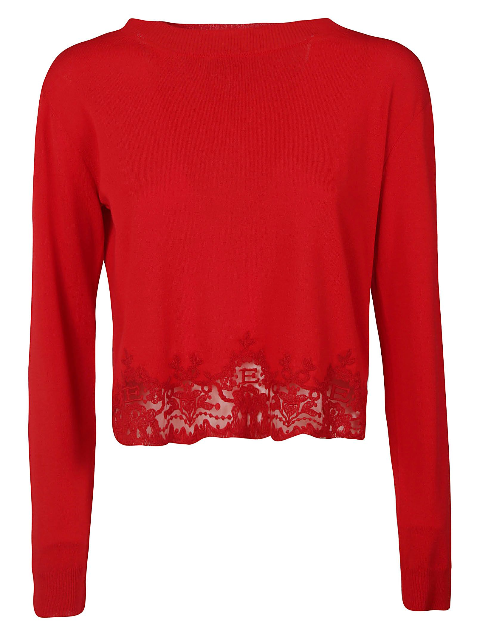 ERMANNO SCERVINO CROPPED LACE DETAIL SWEATER