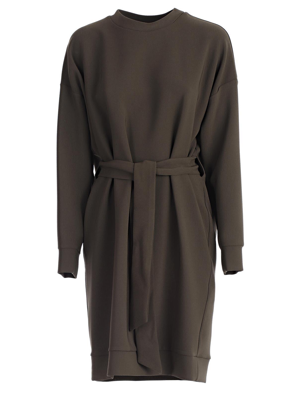 PAROSH BELTED SWEATSHIRT DRESS