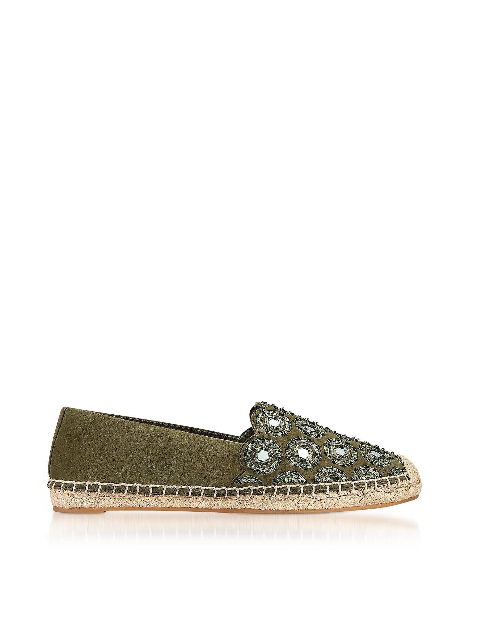 Tory Burch Designer Shoes, Yasmin Olive Suede Embellished Flat Espadrilles