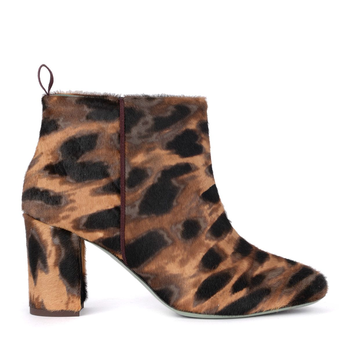 PAOLA D'ARCANO Paola D'Arcano Spotted Cow Hair Effect Leather Ankle Boots in Animalier