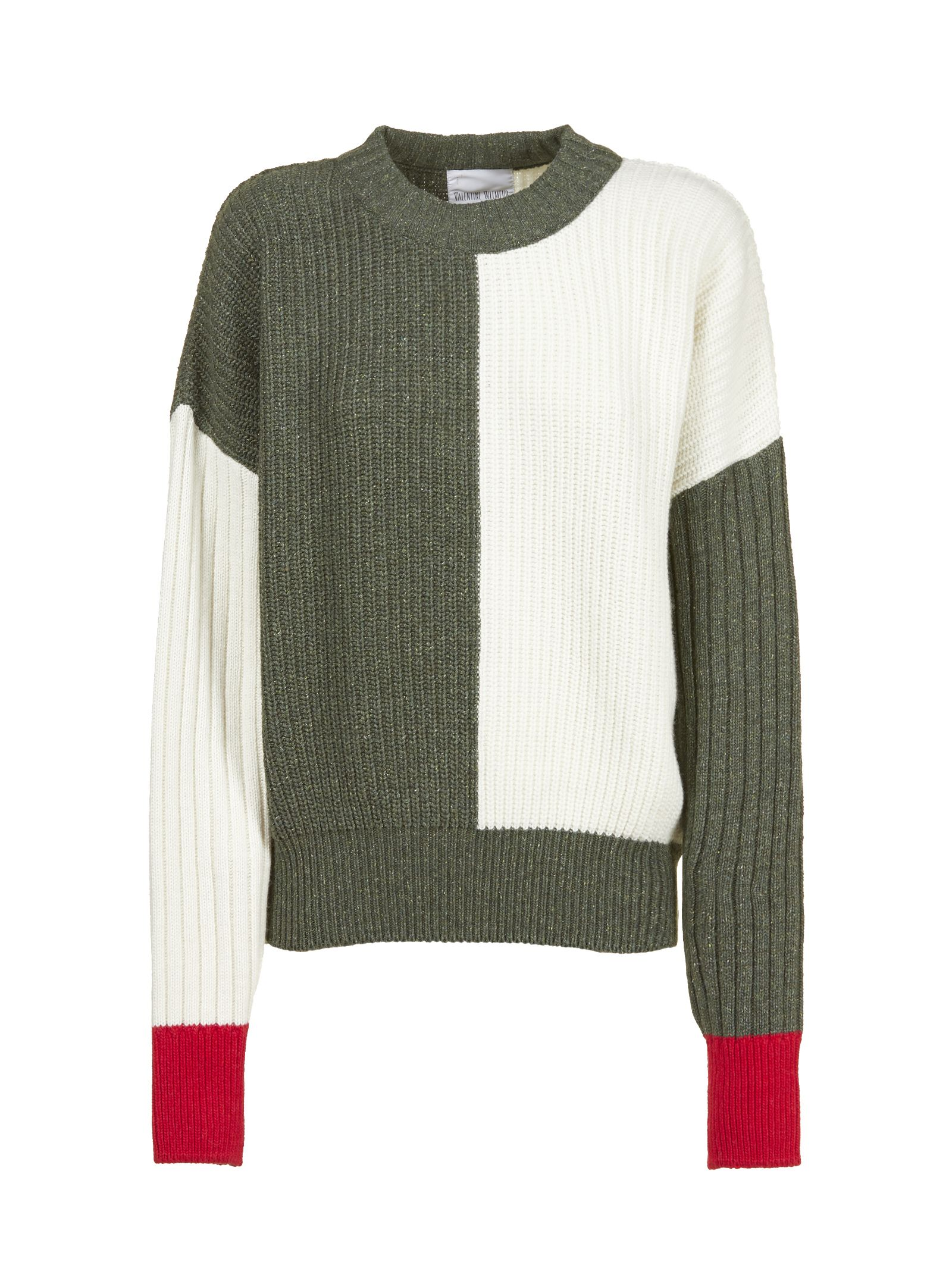 VALENTINE WITMEUR LAB Valentine Witmeur Fiftyish Ribbed Knit Sweater in Panna Verde Rosso