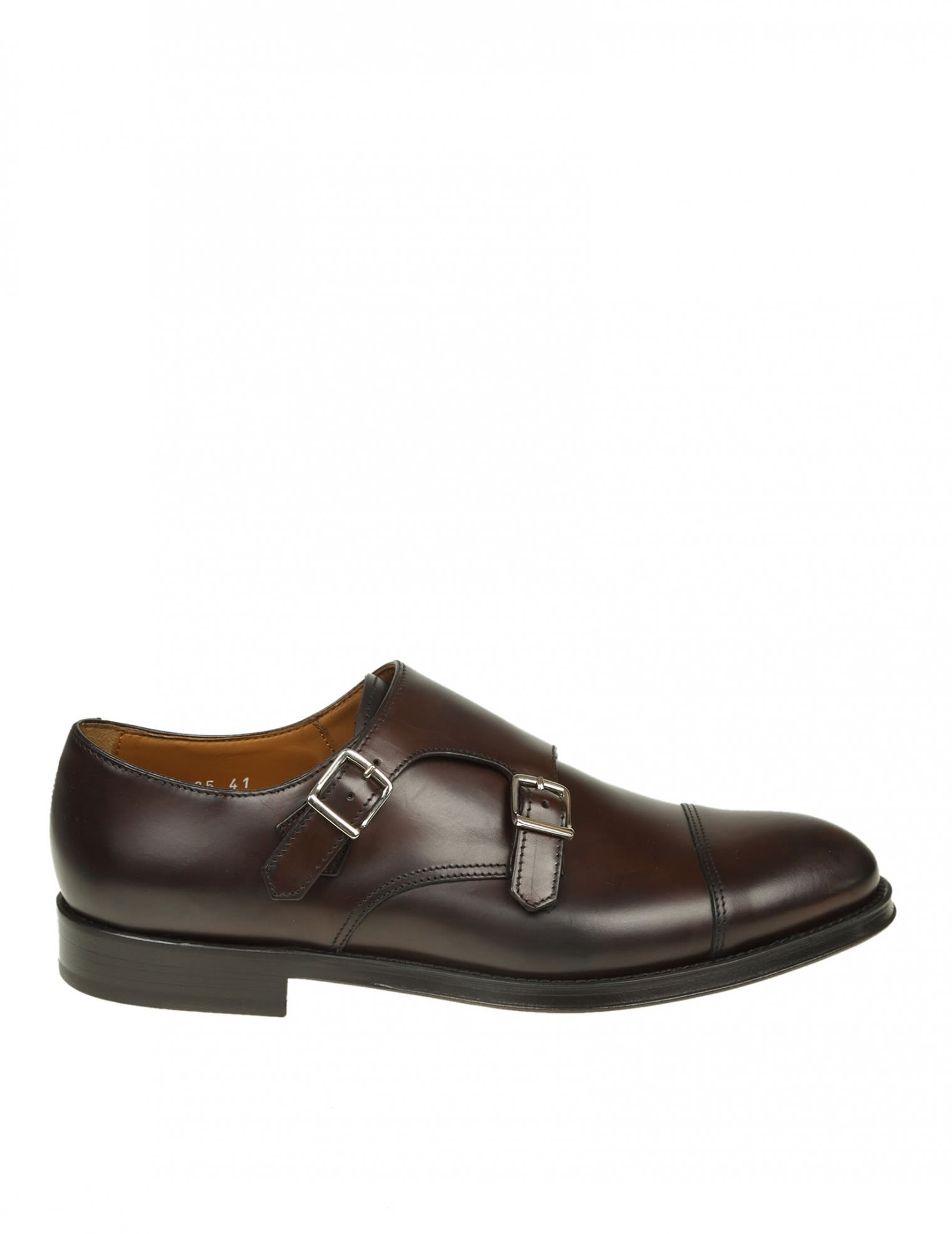 DOUCALS SHOE WITH DOUBLE BUCKLE IN LEATHER COLOR OF DARK BROWN