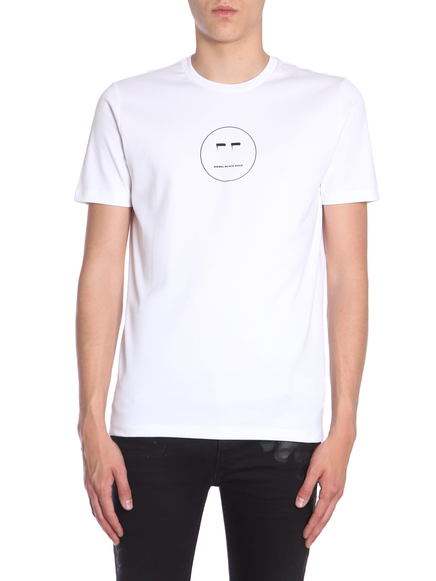 "DIESEL BLACK GOLD ""Ty-Face"" T-Shirt in White"