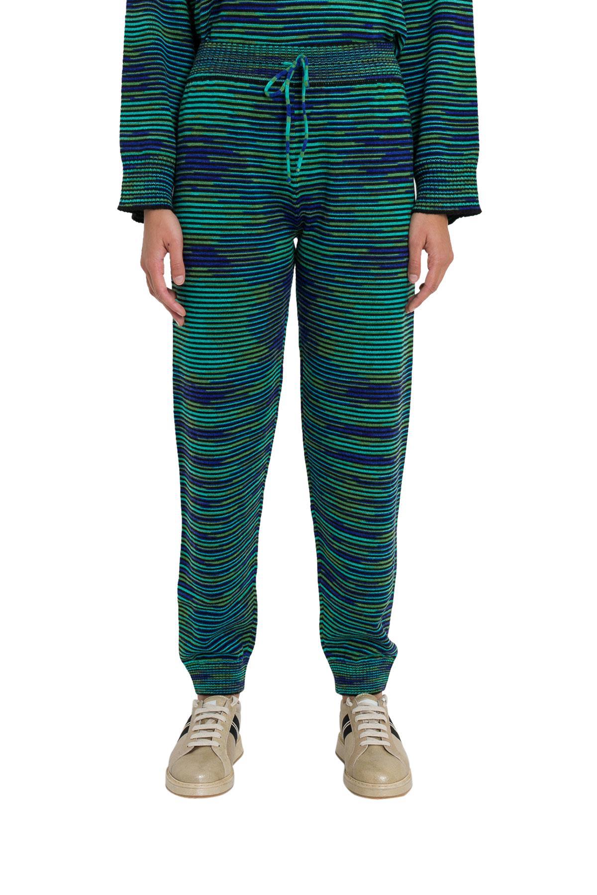 Striped Knit Trousers, Blu