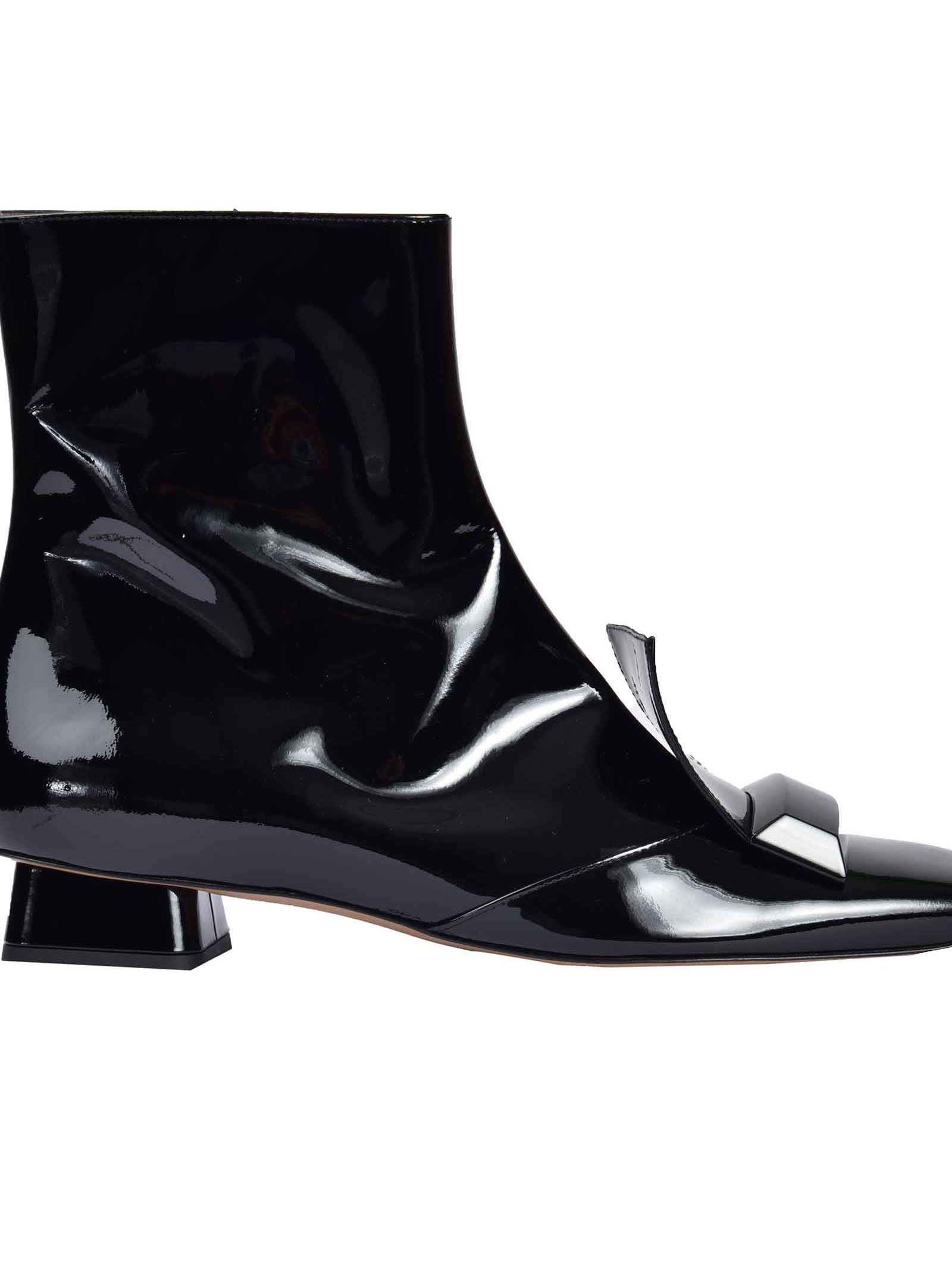RAYNE LONDON Geometric Ankle Boots in Nero