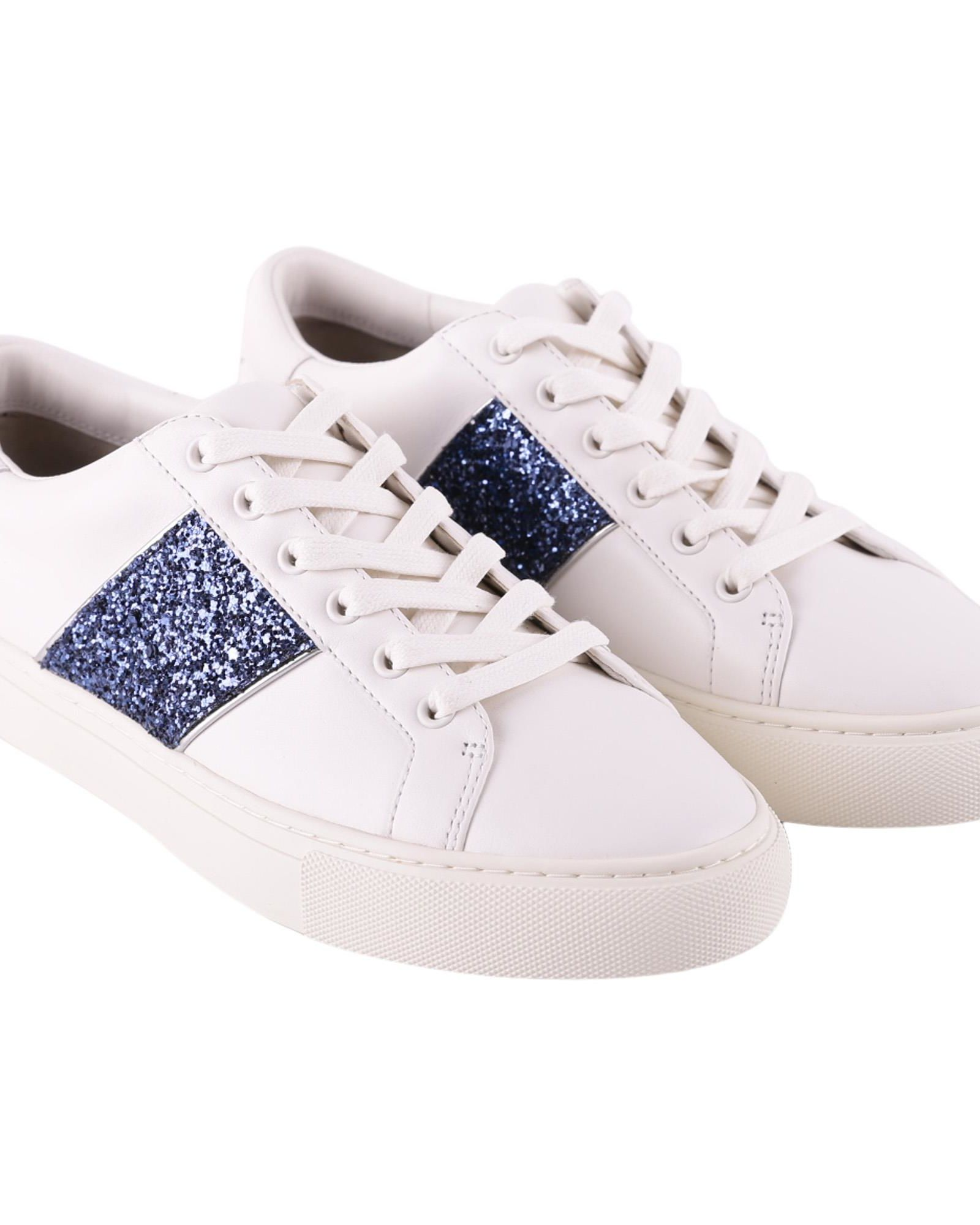 58e375637d9 Tory Burch Carter Glitter Lace-Up Leather Sneakers In Snow White ...