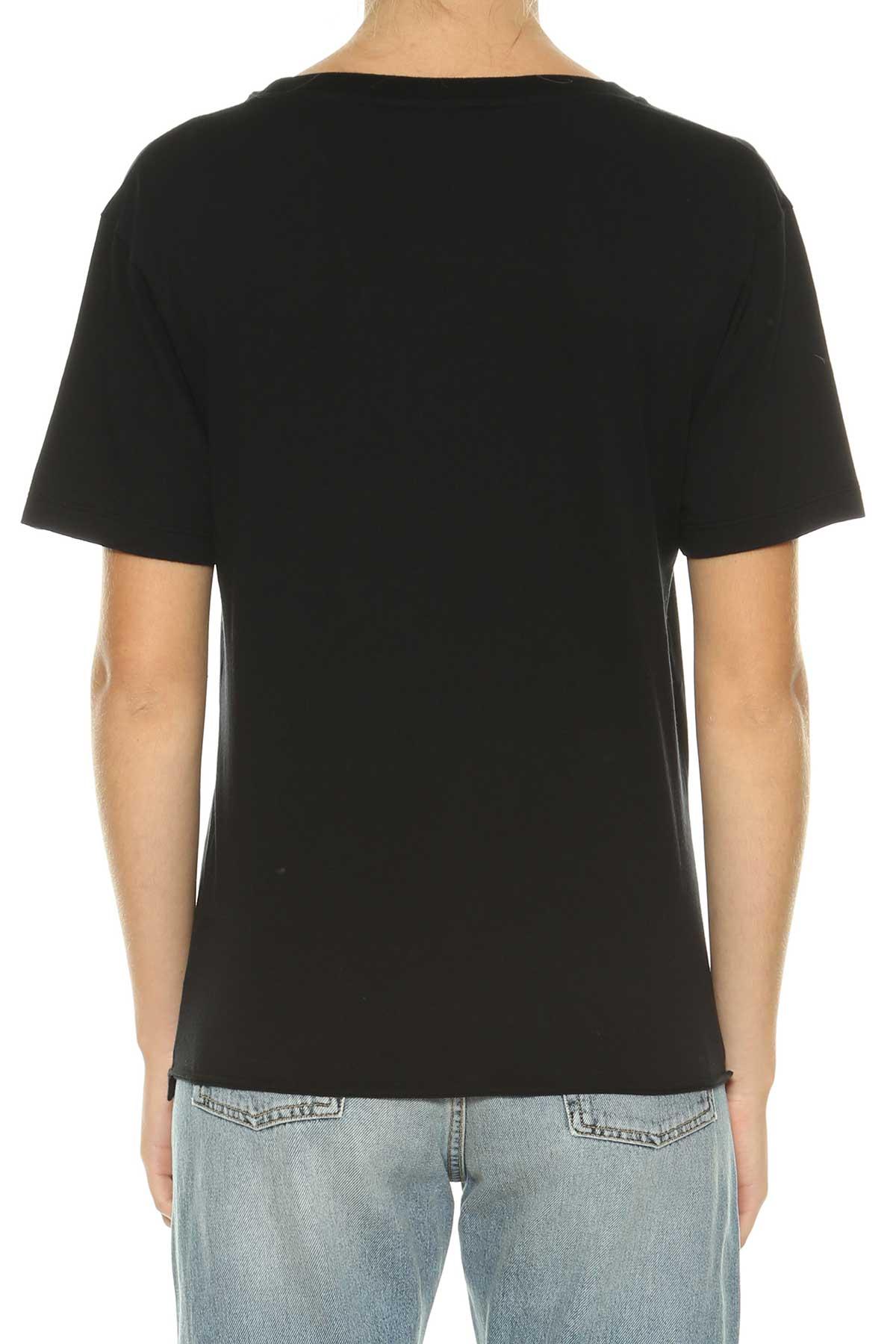 Saint laurent saint laurent ysl printed t shirt nero for Saint laurent shirt womens