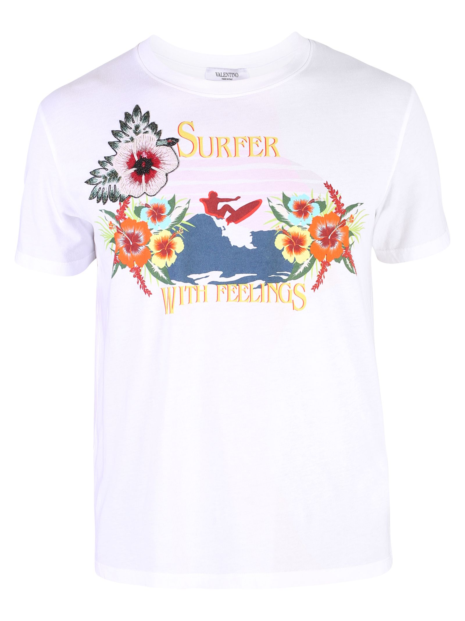 VALENTINO PRINTED AND EMBELLISHED COTTON T-SHIRT