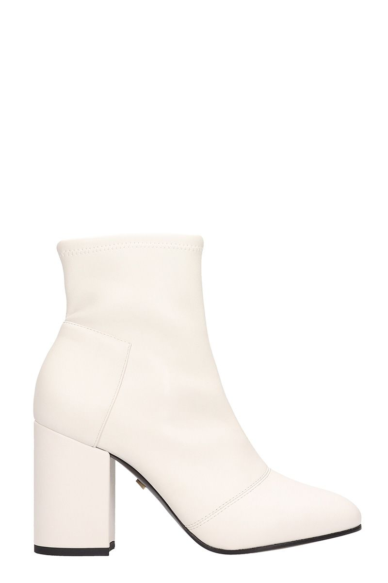 grey mer -  White Leather Ankle Boots