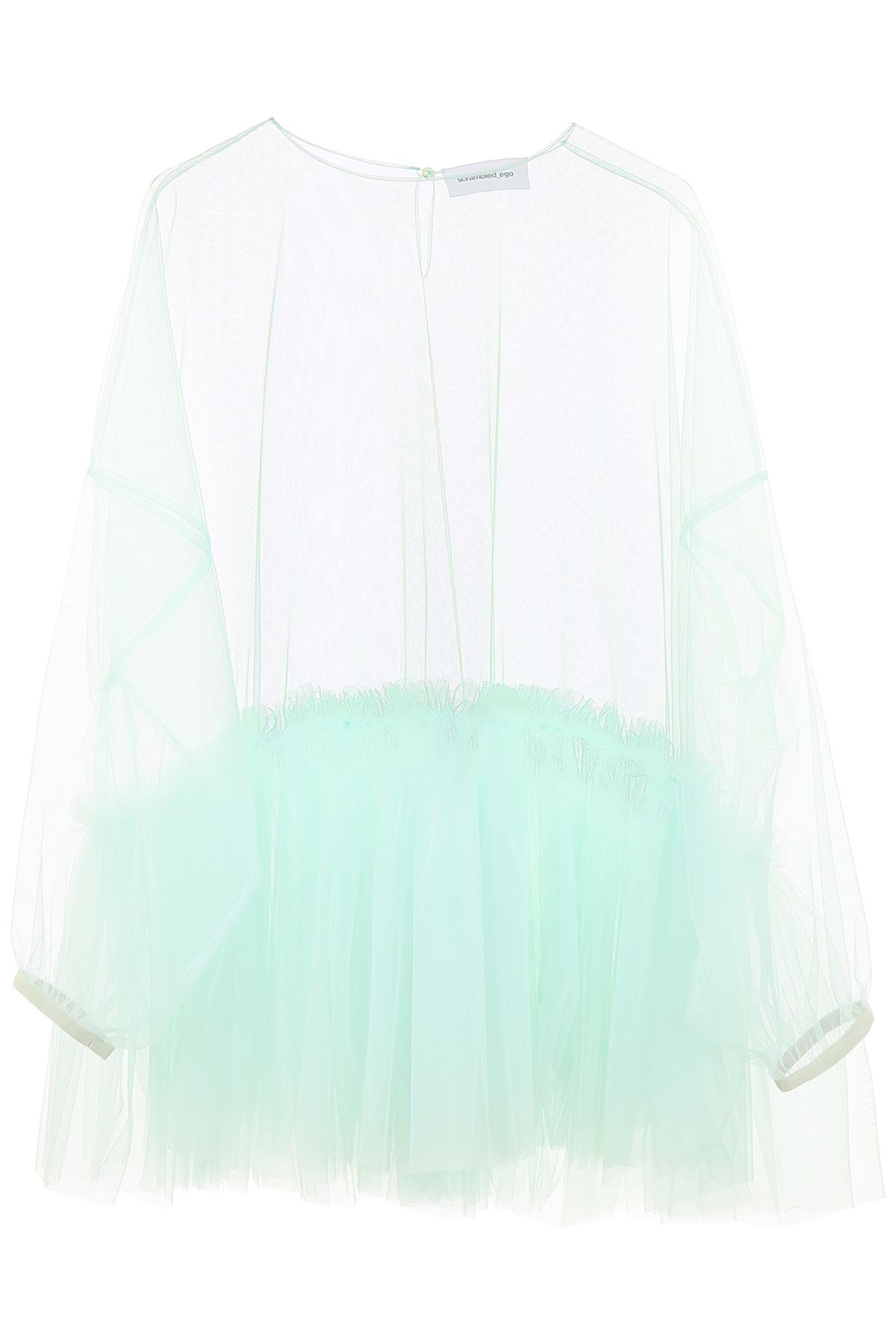 SCRAMBLED EGO Tulle Blouse in Light Blue