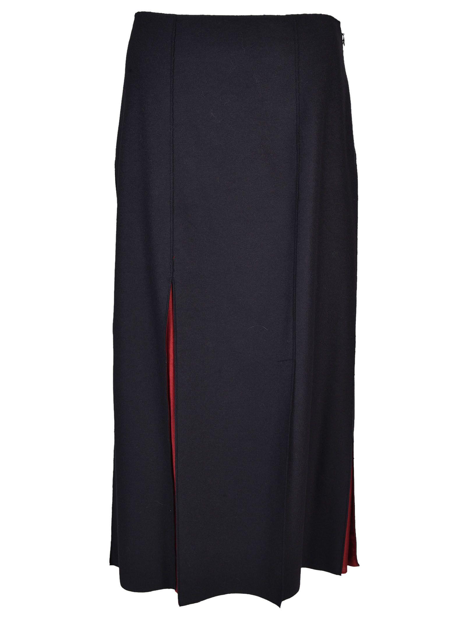 Jil Sander Navy Slit Detail Skirt