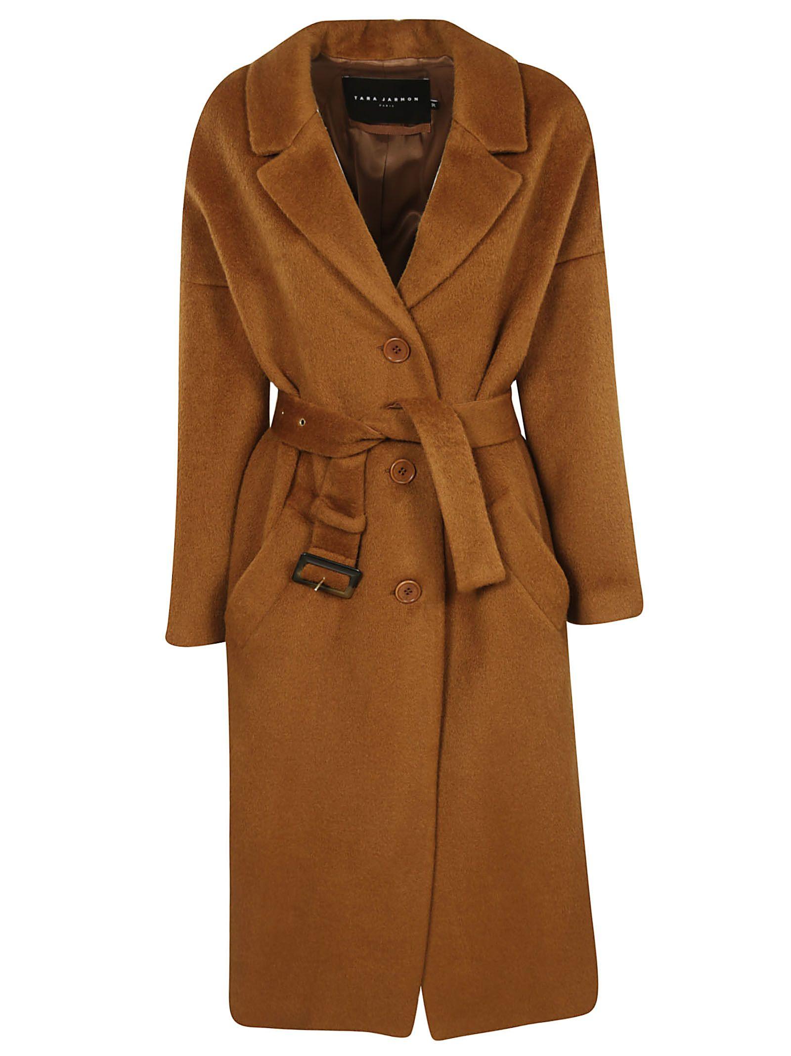 TARA JARMON Belted Coat in Noisette