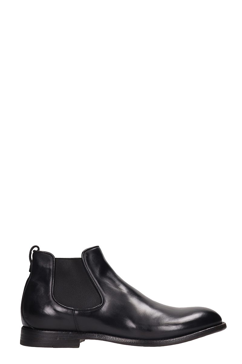 FRANCESCHETTI Black Leather Beatles Ankle Boots