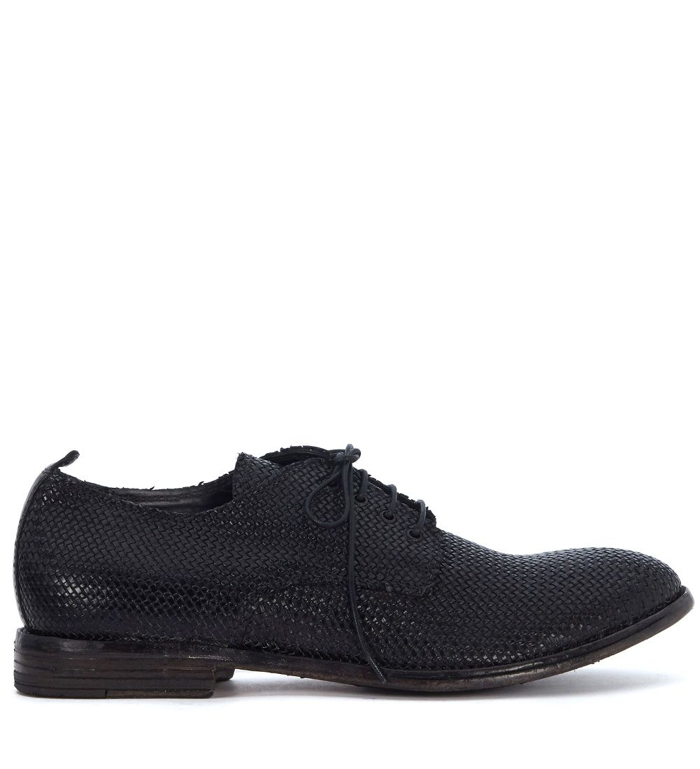 Moma Black Braided Leather Lace Up Shoes