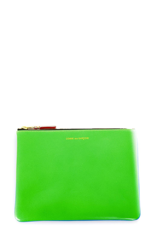 comme des garçons -  Fluo Blue & Green Leather Wallet