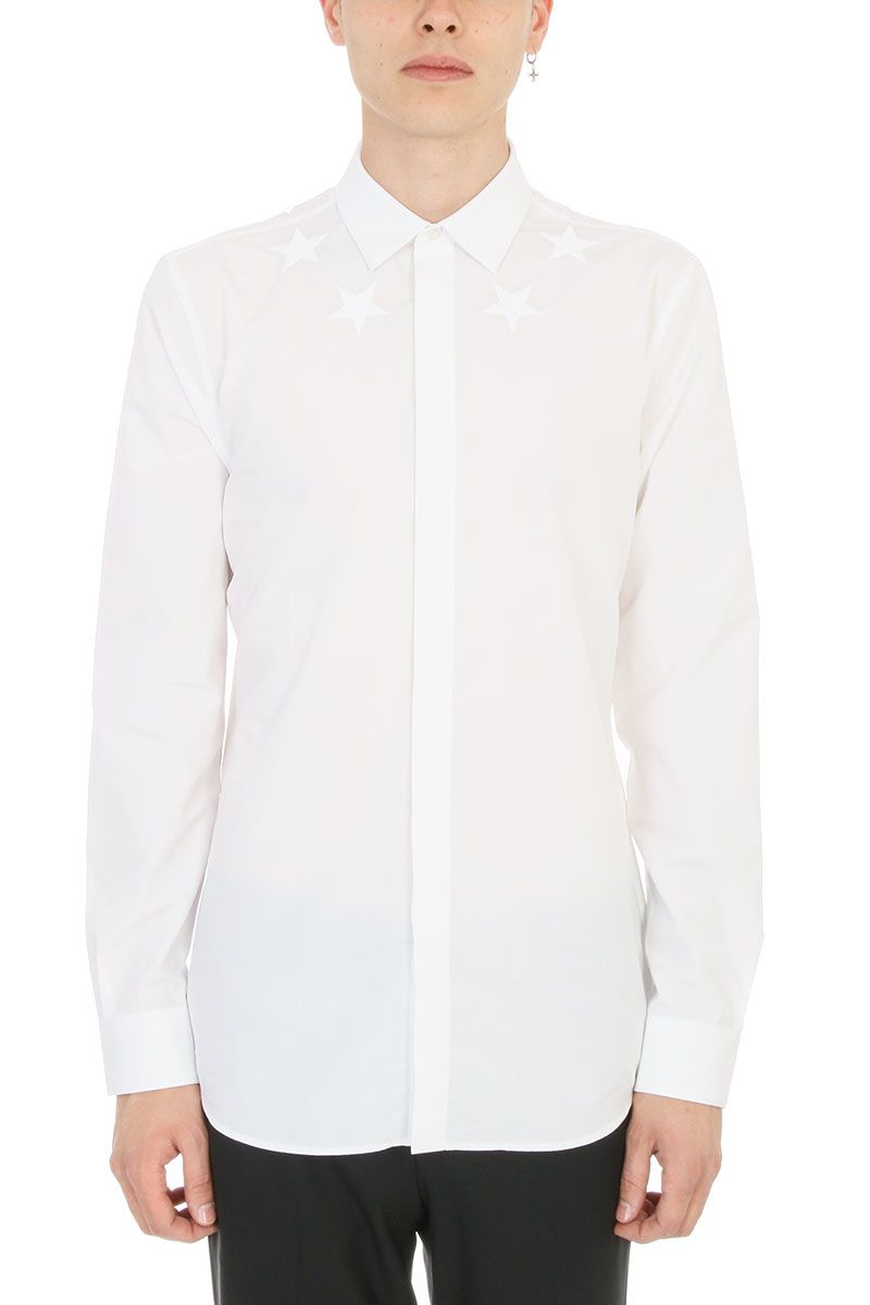 GIVENCHY STAR EMBROIDERED WHITE BLACK SHIRT