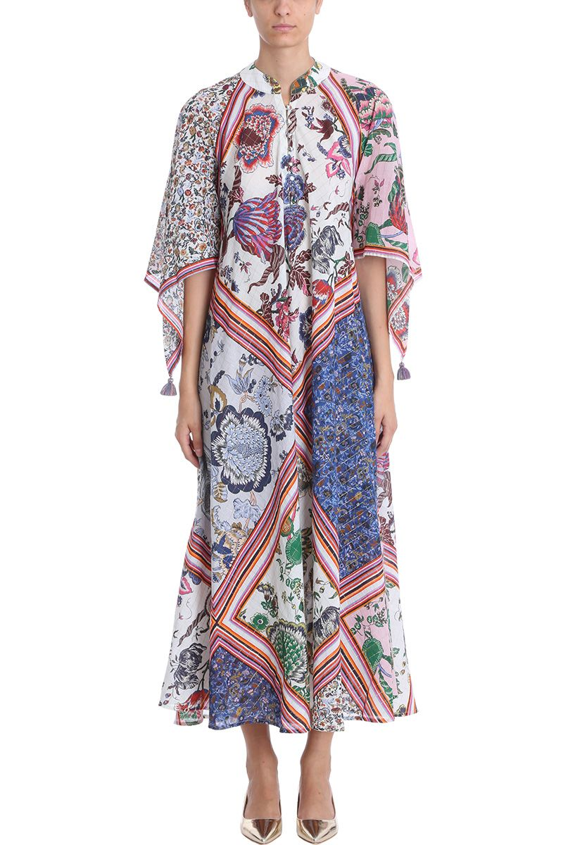 Michaela Printed Cotton-Blend Voile Kaftan in Cream