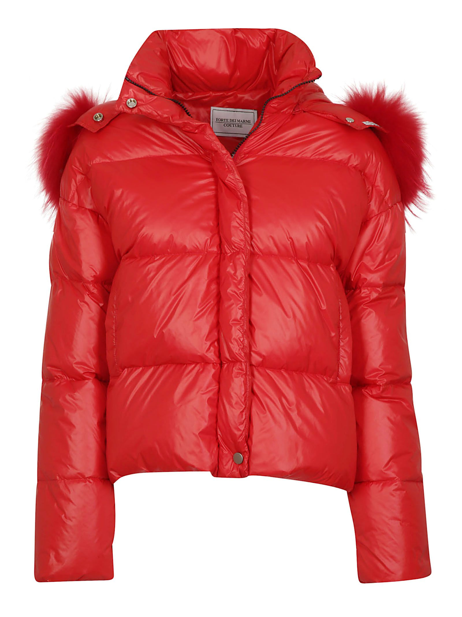 FORTE COUTURE Forte Dei Marmi Couture Fur Trim Padded Jacket in Red