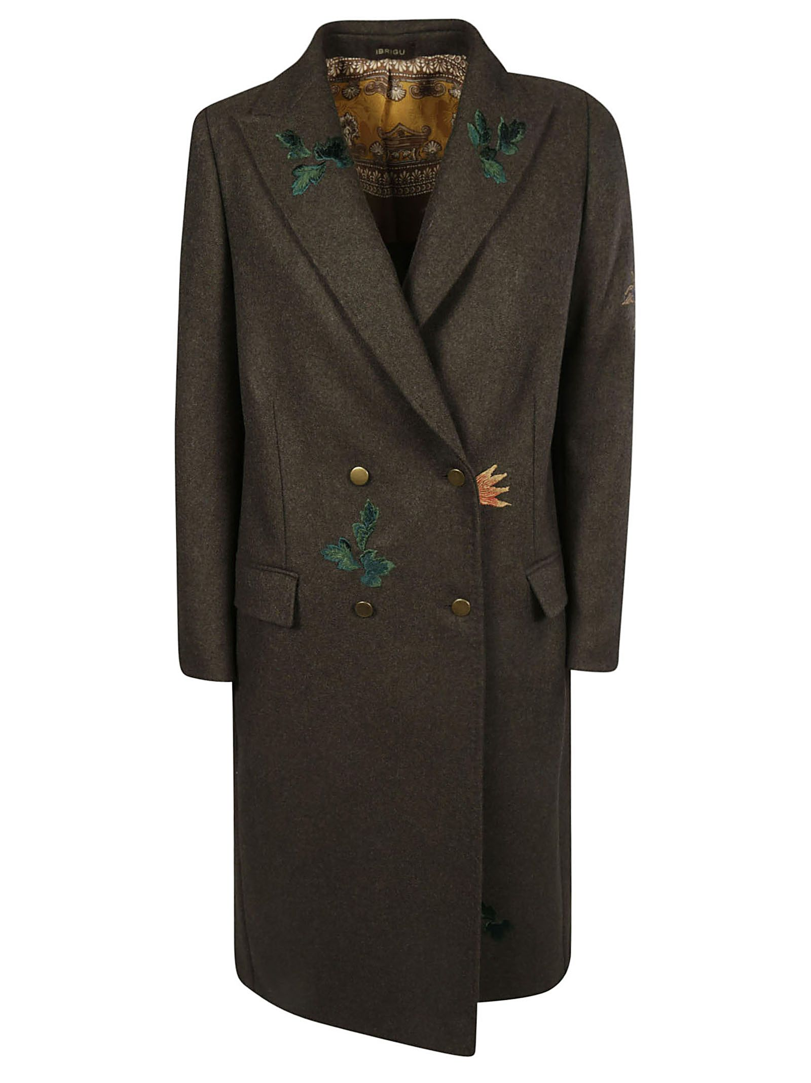 IBRIGU Double-Breasted Coat in Green