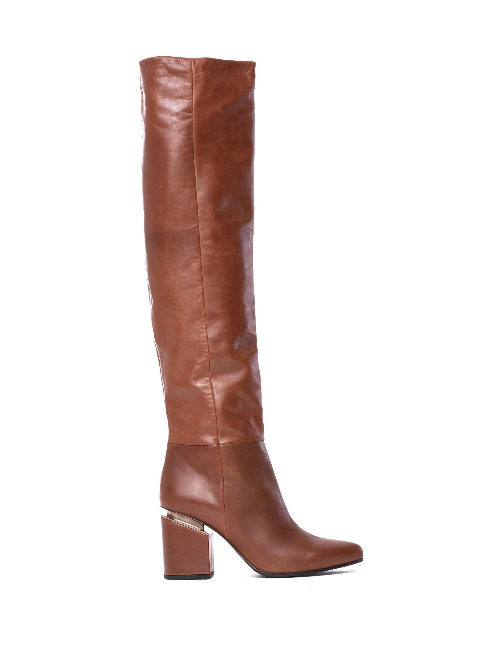 VIC MATIE Brown Leather Stove Pipe Boots With Suspended Heel in Tobacco