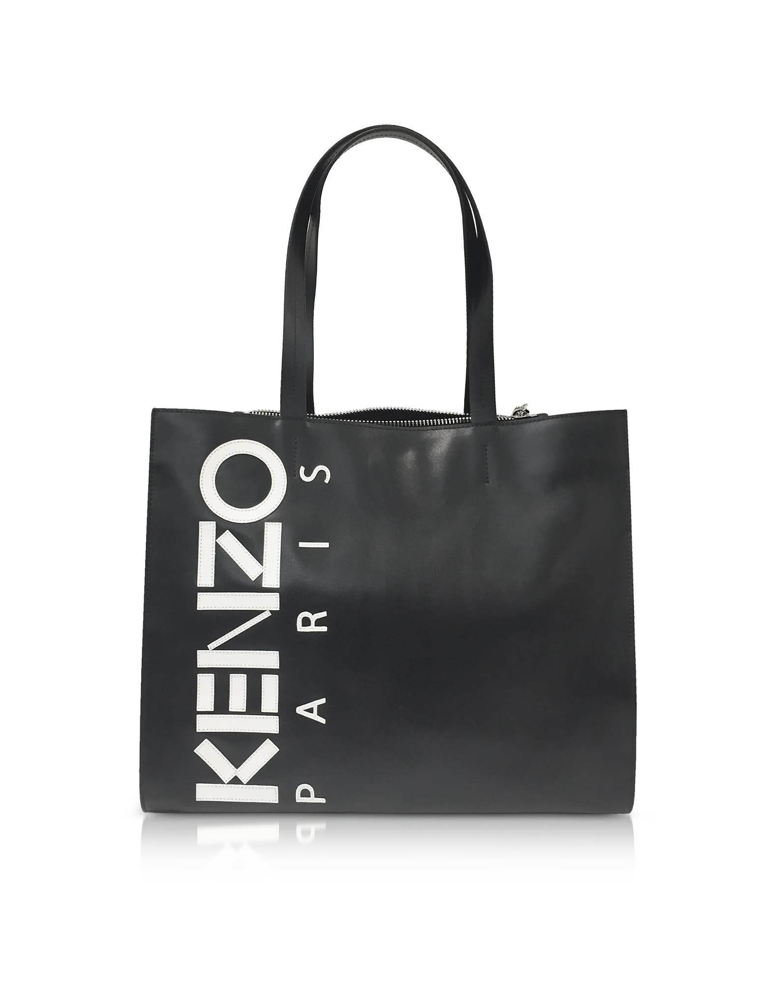 KENZO Logo Print Tote in Black