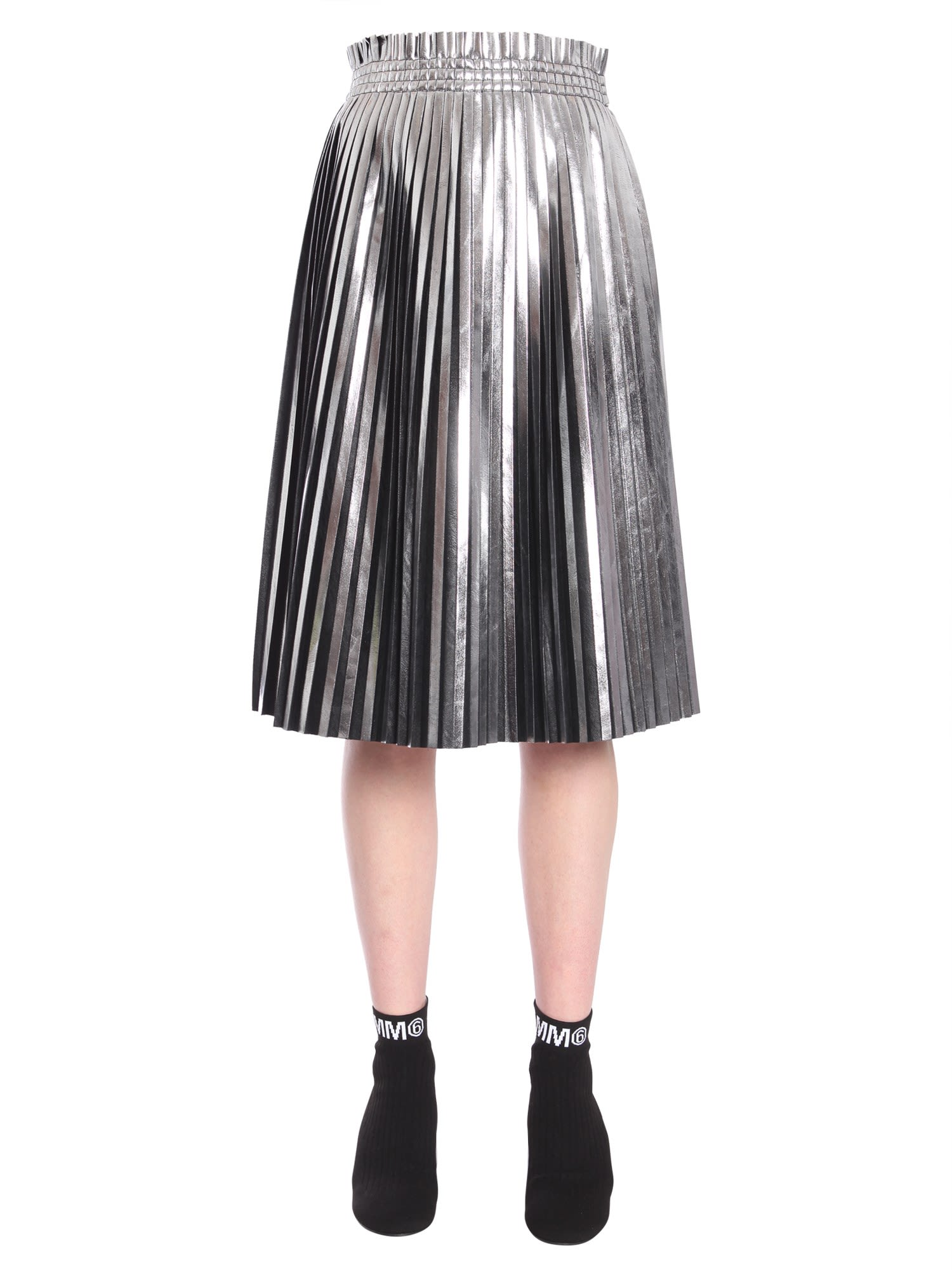 Mm6 By Maison Margiela Black And Silver Pleated Faux Leather Skirt, Argento